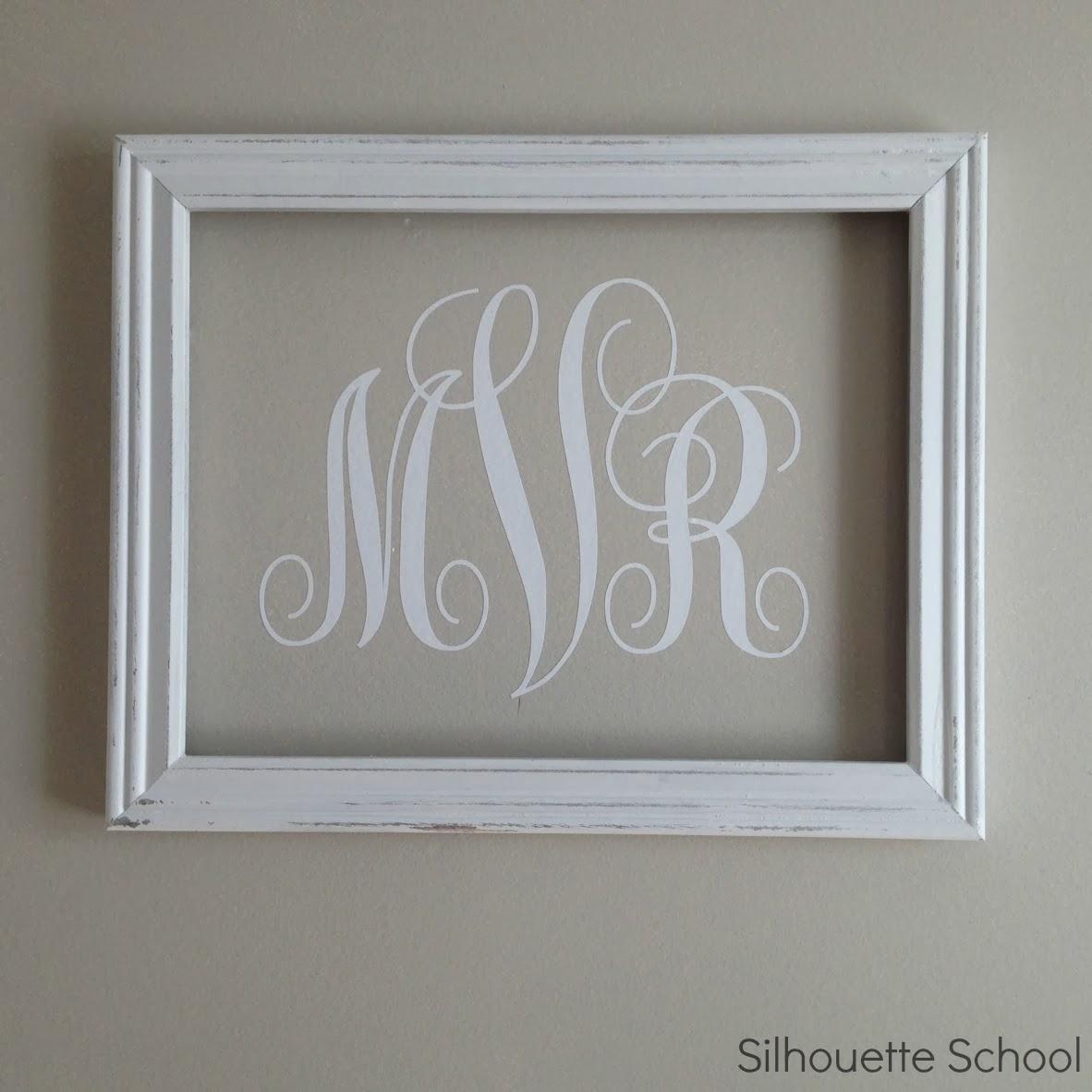 Silhouette} Vinyl Monogram Wall Art – Silhouette School For Framed Monogram Wall Art (Image 11 of 20)