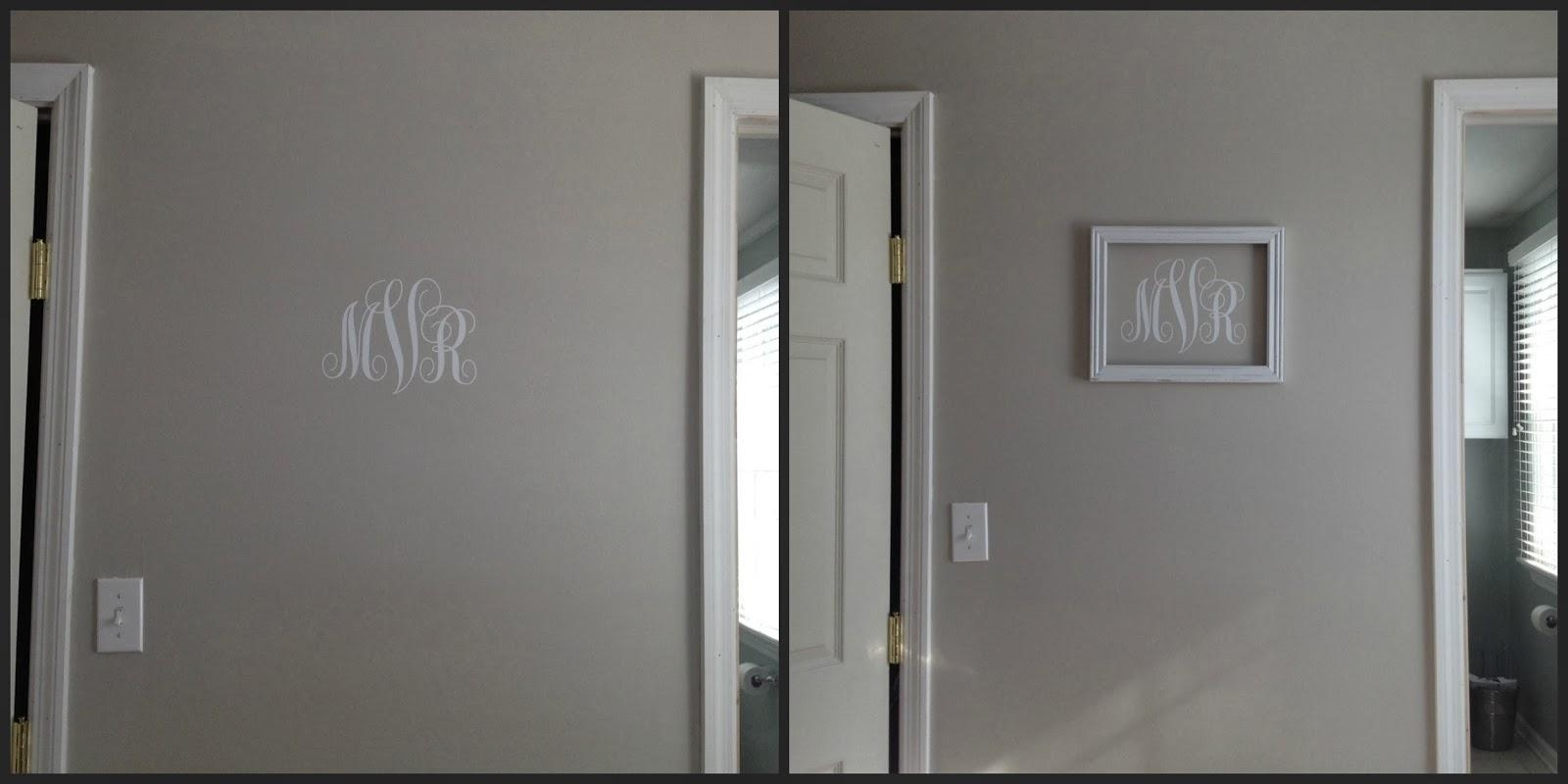 Silhouette} Vinyl Monogram Wall Art – Silhouette School In Framed Monogram Wall Art (Image 12 of 20)