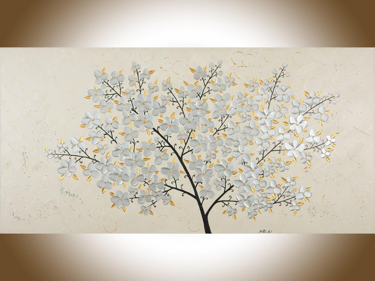 "Silver Blossomsqiqigallery 48"" X 24"" Original Oil Painting With Large Copper Wall Art (View 17 of 20)"