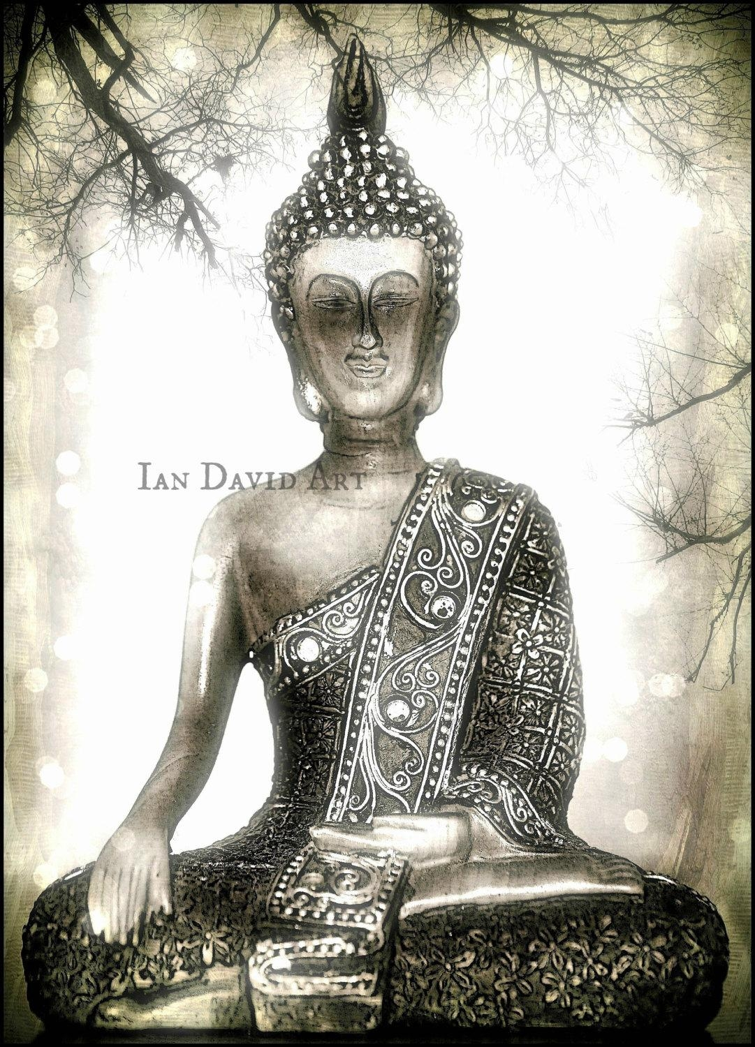 Silver Buddha Photograph Calming Peaceful Zen Buddha Wall Within Silver Buddha Wall Art (Image 16 of 20)