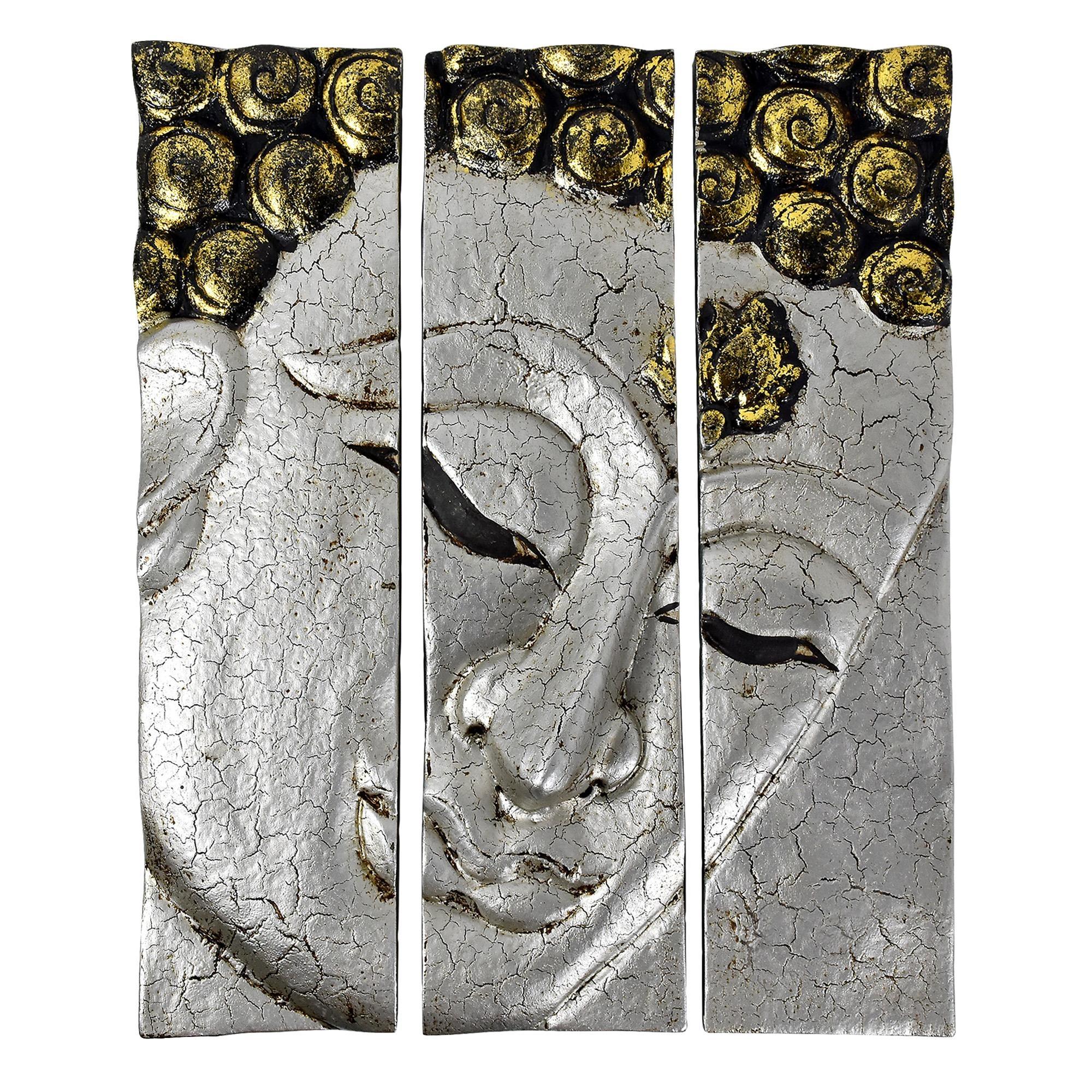 Silver Crackle Buddha Face Three Panel Hanging Handmade Wall Art Regarding Buddha Wood Wall Art (Image 10 of 20)
