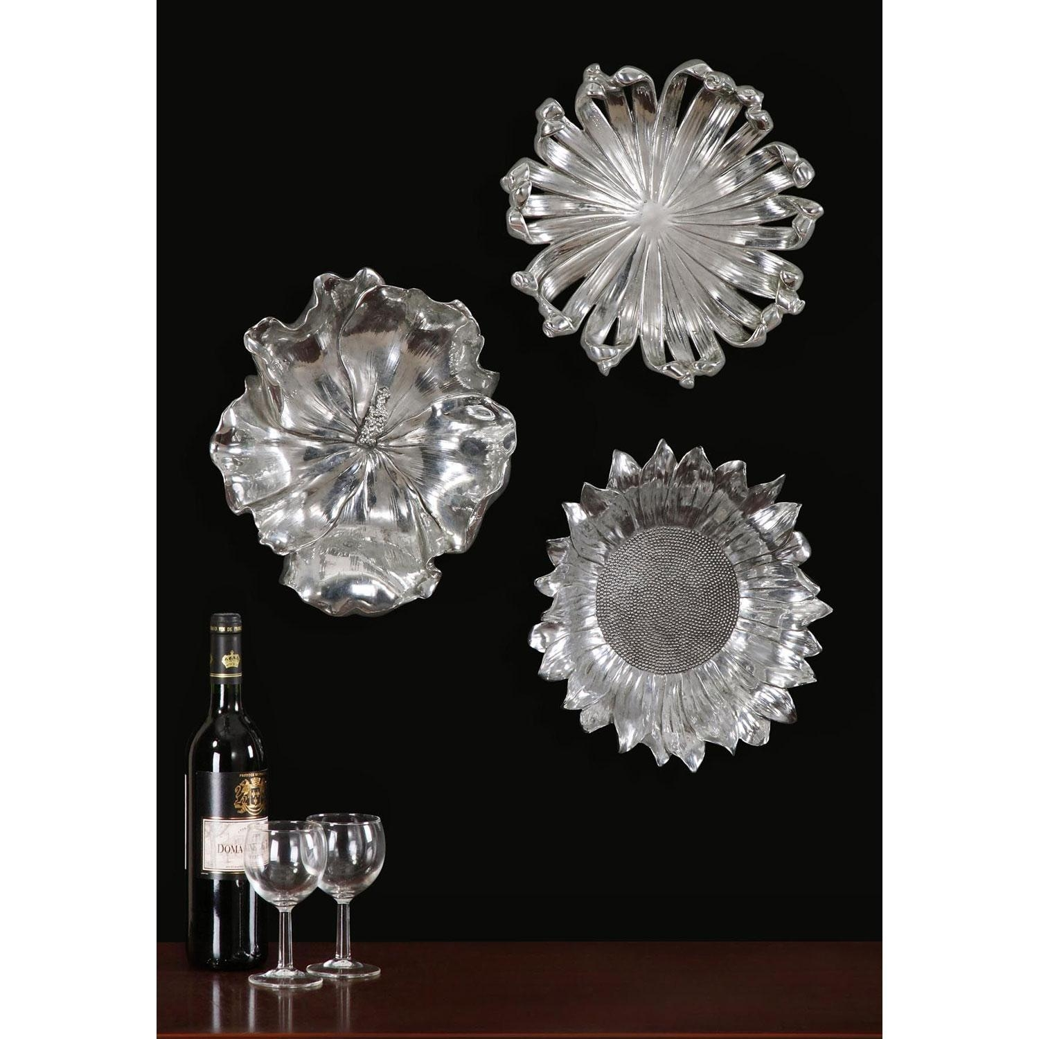 Silver Flowers Metal Wall Art, Set Of Three Uttermost Wall Regarding Metallic Wall Art (View 16 of 20)