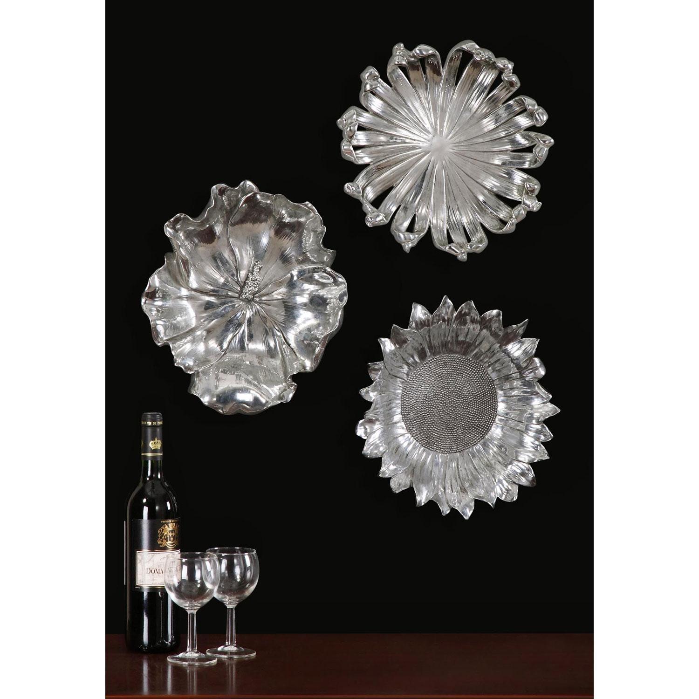Silver Flowers Metal Wall Art, Set Of Three Uttermost Wall Regarding Metallic Wall Art (Image 18 of 20)