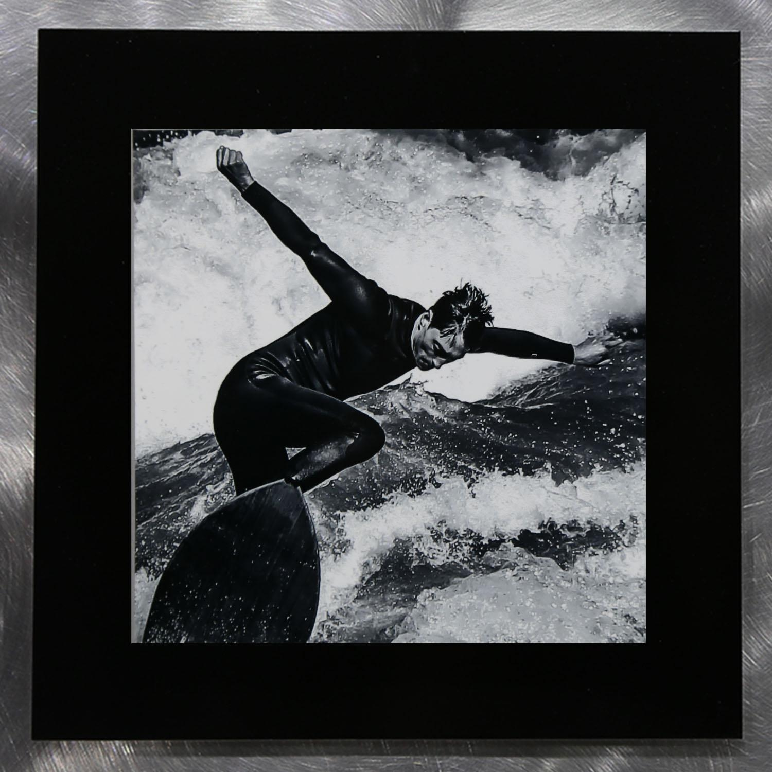 Silver Surf – Set Of Three Black & White Surfing Photography Metal Within Black Silver Wall Art (Image 18 of 20)