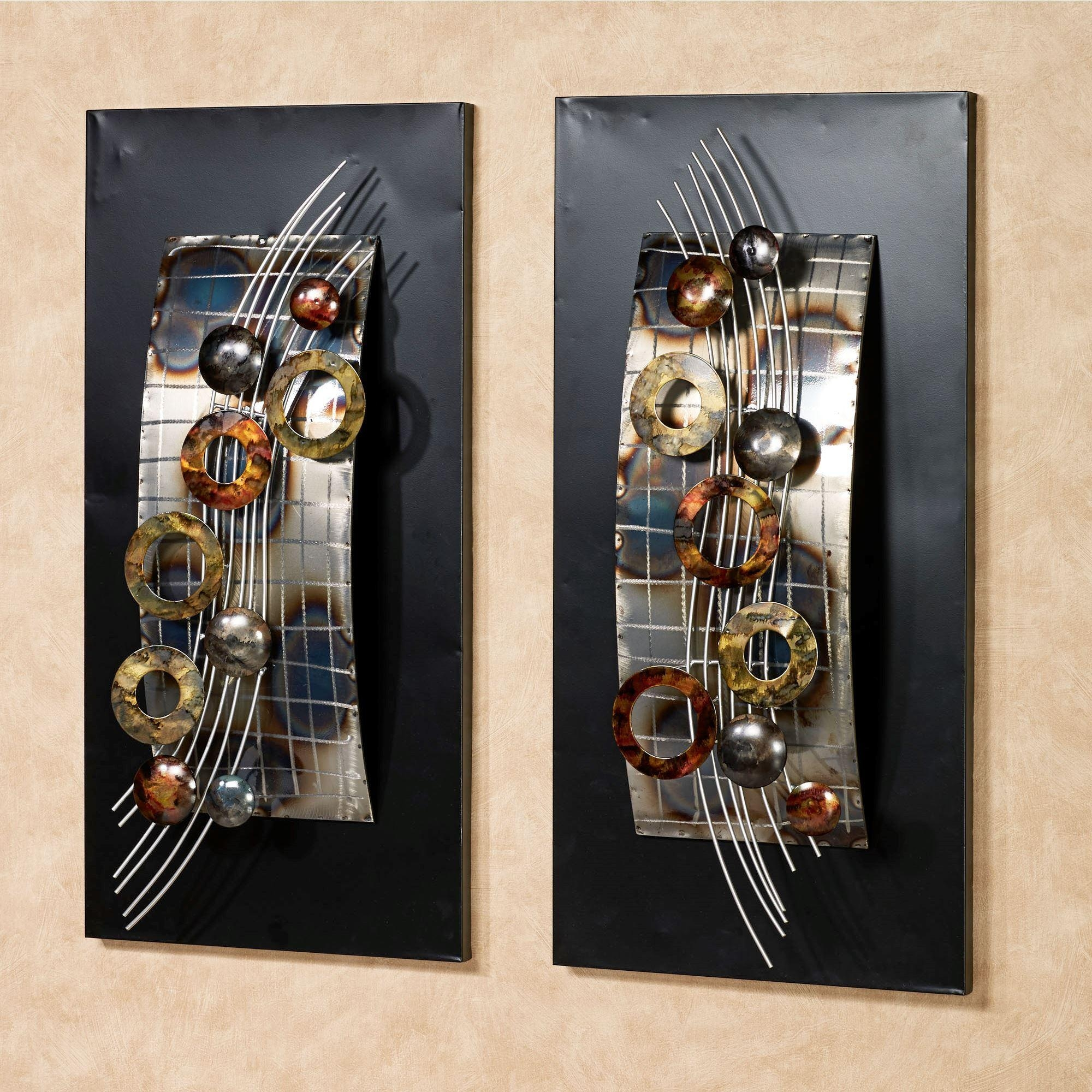 Silver Wave Metal Wall Art Panel Set For Contemporary Metal Wall Art Sculpture (View 11 of 20)