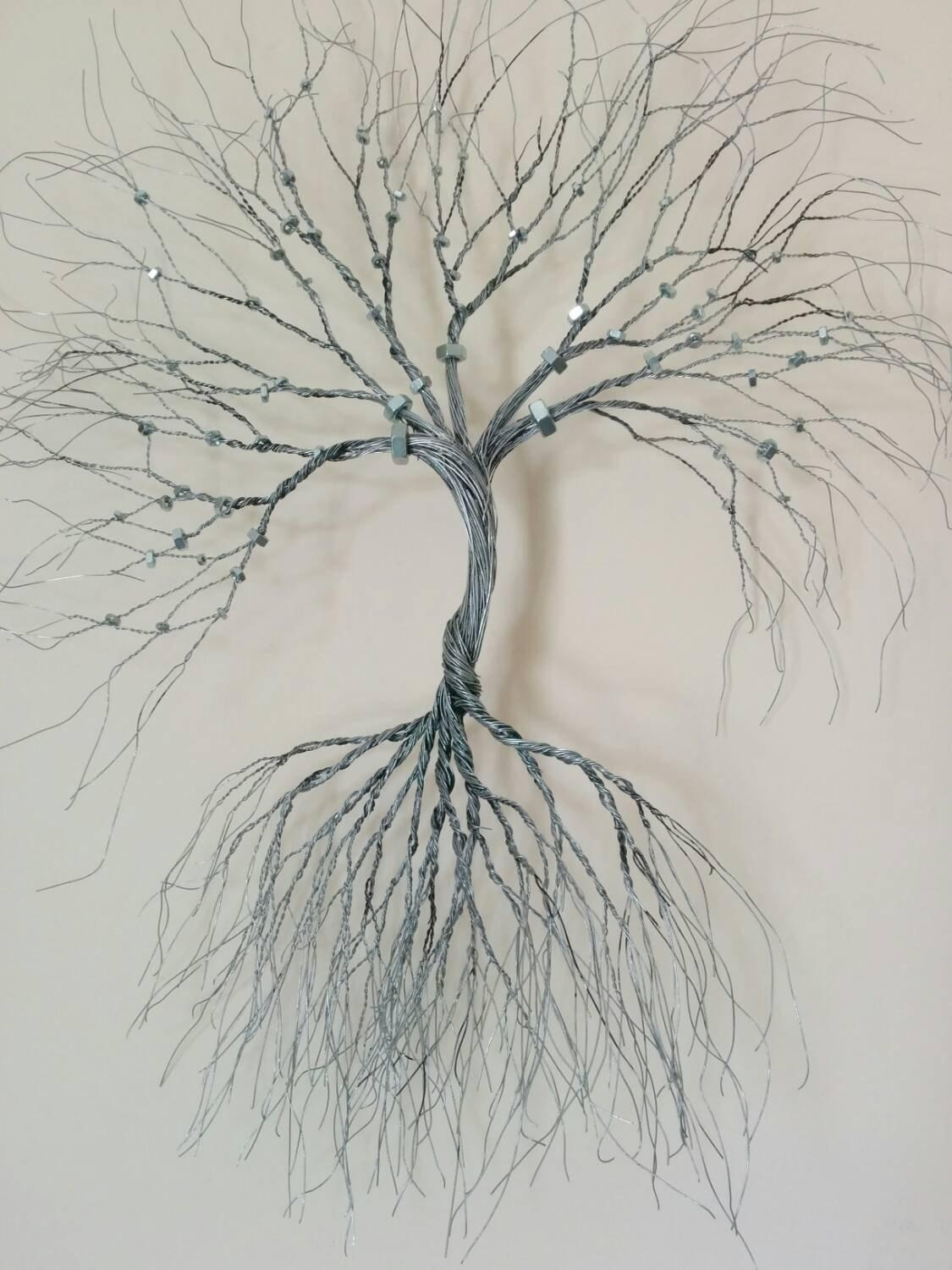 Silver Wire Wall Art Tree Of Life Wall Decoration Decorative Inside Wire Wall Art Decors (Image 14 of 20)