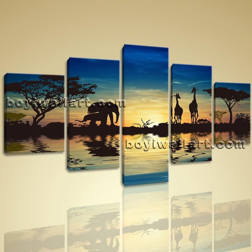 Size Contemporary Wall Art Print On Canvas Landscape Africa Sunset Pertaining To Canvas Landscape Wall Art (View 4 of 20)