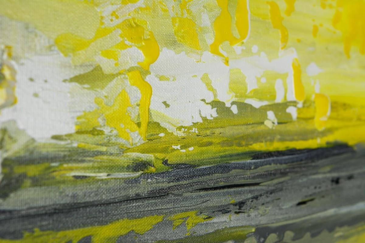 "Sky And Seaqiqigallery 36"" X 12"" Abstract Art Yellow Grey Throughout Yellow And Green Wall Art (Image 14 of 20)"