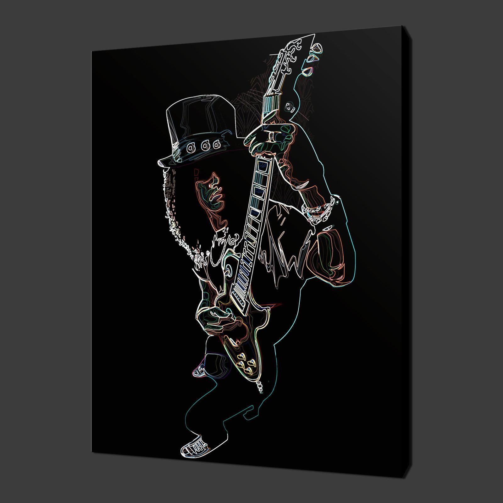 "Slash Guitar Abstract Music Canvas Wall Art Pictures Prints 20""x16 Within Guitar Canvas Wall Art (Image 19 of 20)"
