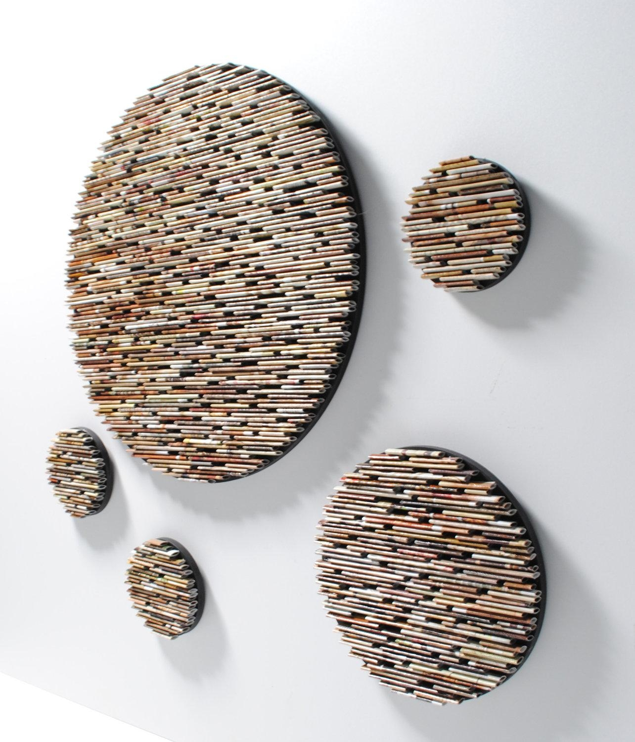 Small Set Of 5 Neutral Colored Round Wall Art  Made From Recycled Inside Recycled Wall Art (Image 18 of 20)