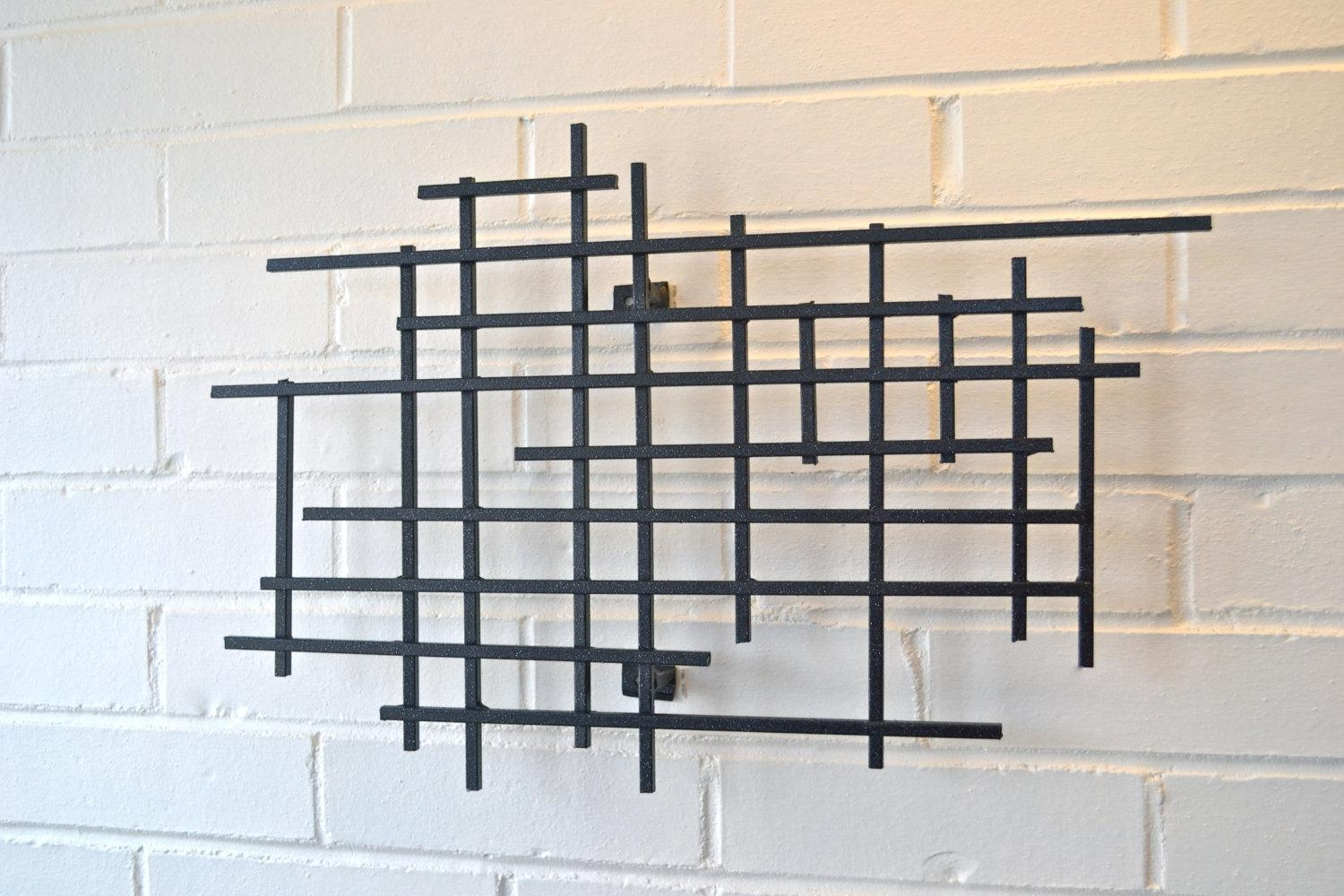 Small Square Metal Art Sculpture Modern Steel Decor Decoration 3D Intended For 3D Metal Wall Art (Image 14 of 20)
