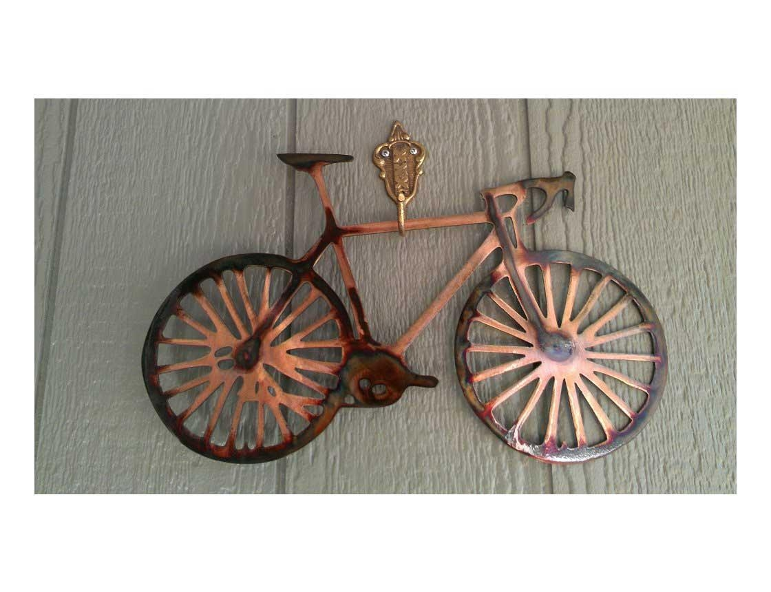 Smw162 Metal Road Bike Wall Art – Sunriver Metal Works Throughout Bike Wall Art (Image 15 of 20)