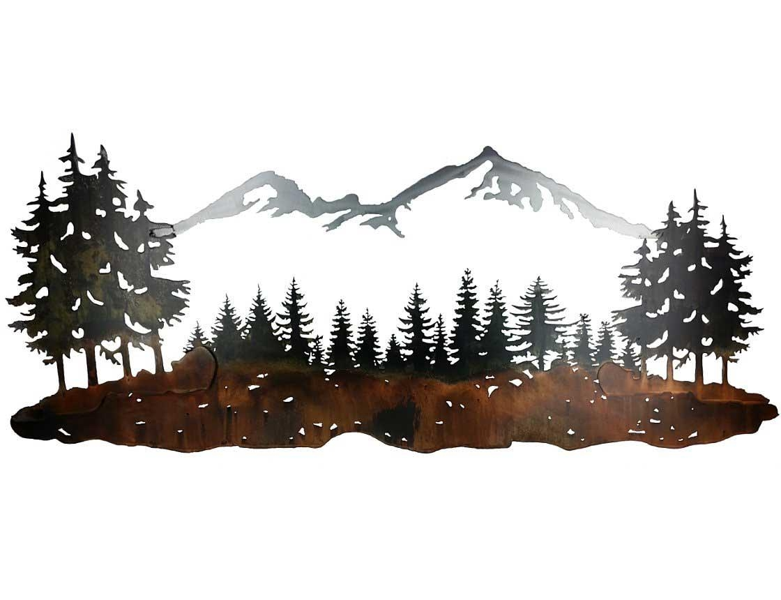 Smw324 Custom Metal Wall Art Sisters Mountain Landscape – Sunriver Regarding Pine Tree Metal Wall Art (Image 18 of 20)