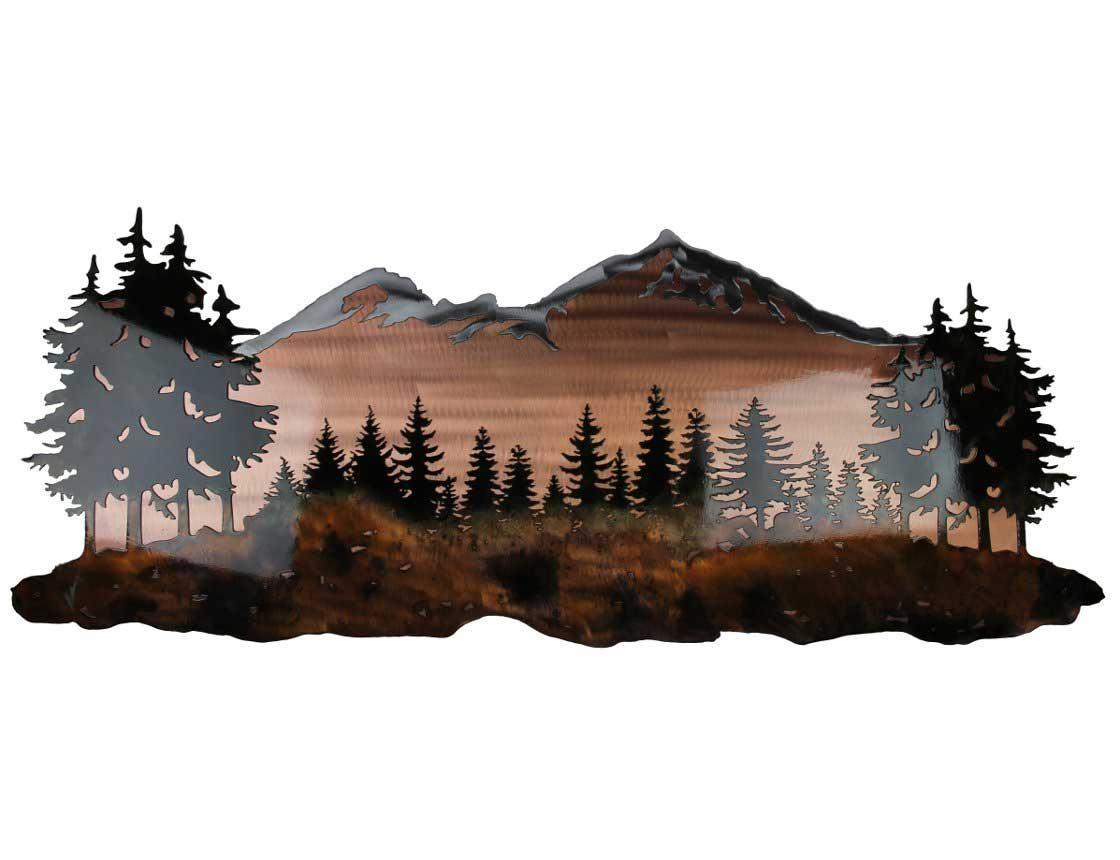 Smw324 Custom Metal Wall Art Sisters Mountain Landscape – Sunriver With Regard To Mountain Scene Metal Wall Art (View 2 of 20)
