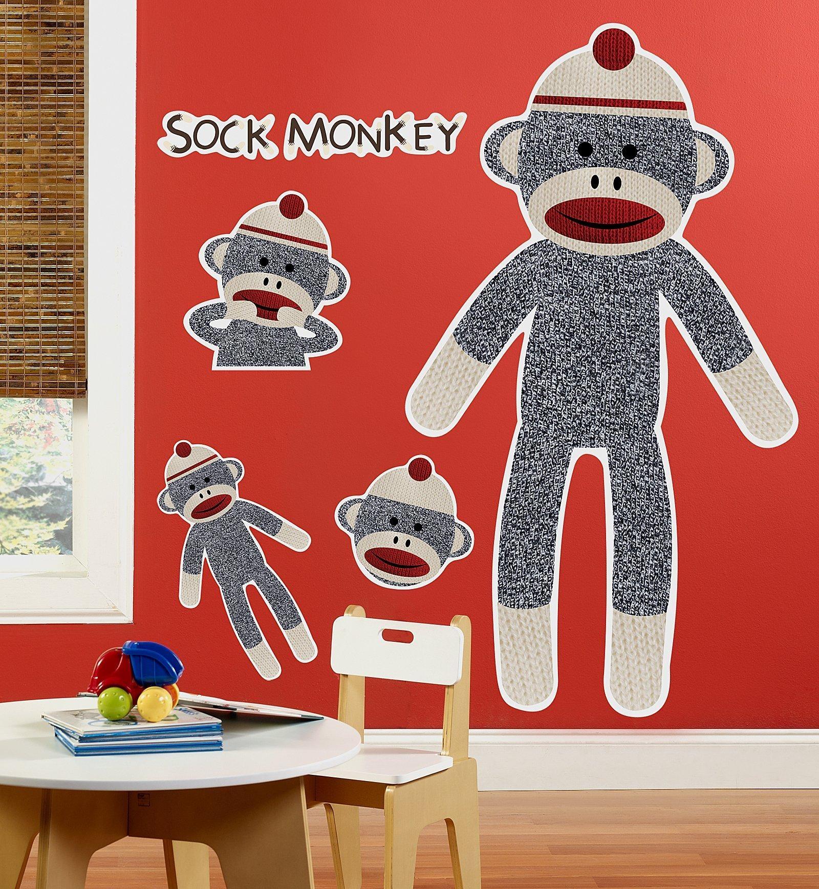 Sock Monkey Red – Personalized Vinyl Banner | Birthdayexpress Pertaining To Sock Monkey Wall Art (View 7 of 20)
