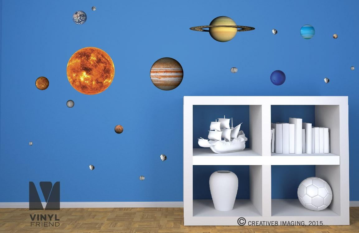 Solar System Vinyl Decal Pack Of All 9 Planets, Sun, Moon And Within Solar System Wall Art (View 13 of 20)