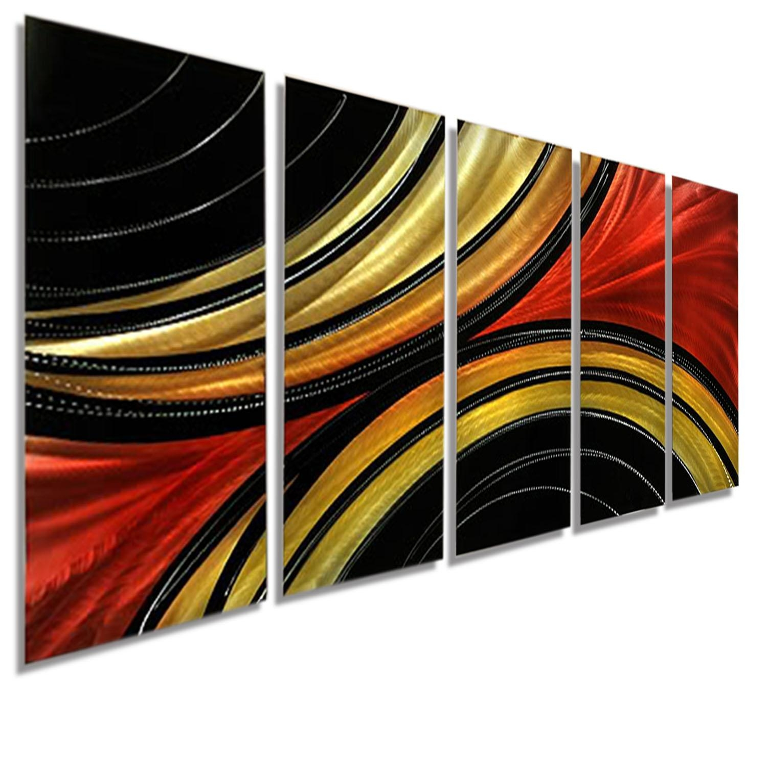 Solaris Xl – Massive Metal Abstract Red Black Gold Painting Wall With Metal Abstract Wall Art (View 19 of 20)