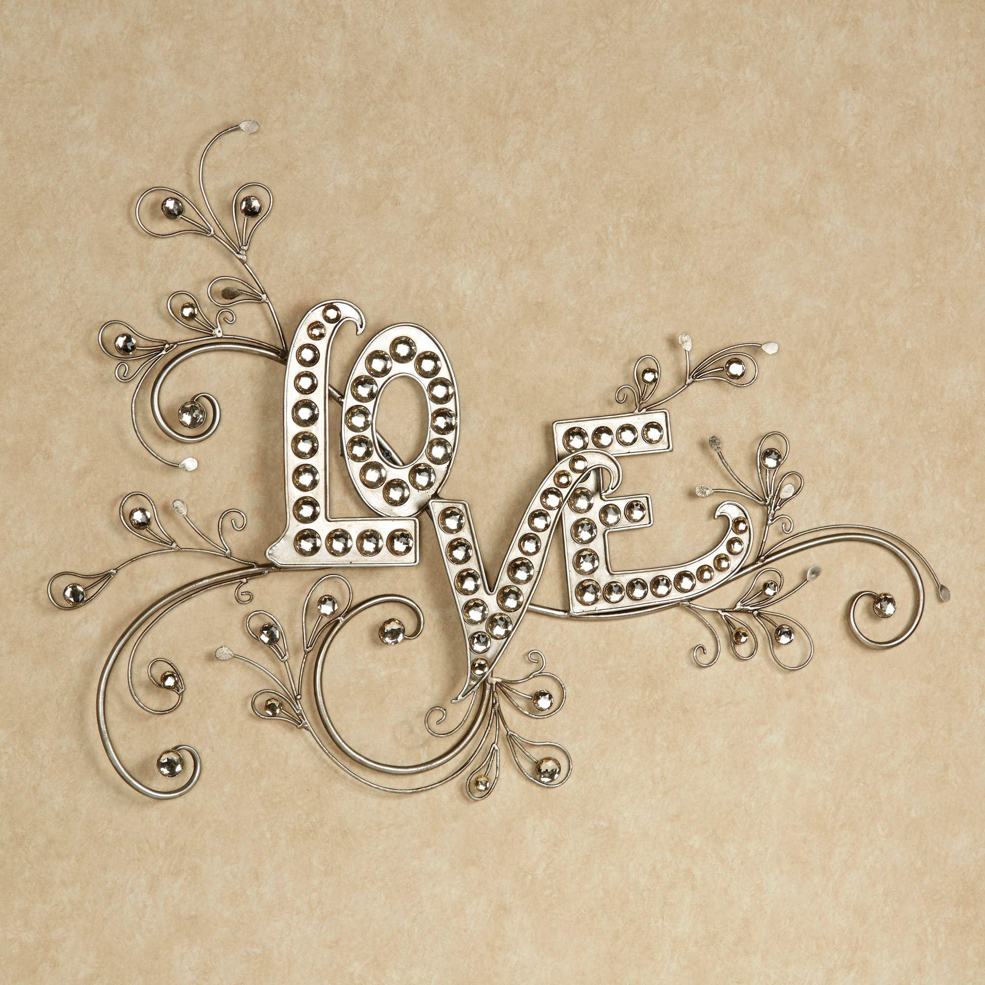 Sparkling Love Gem Word Wall Art Pertaining To Metal Word Wall Art (Image 14 of 20)