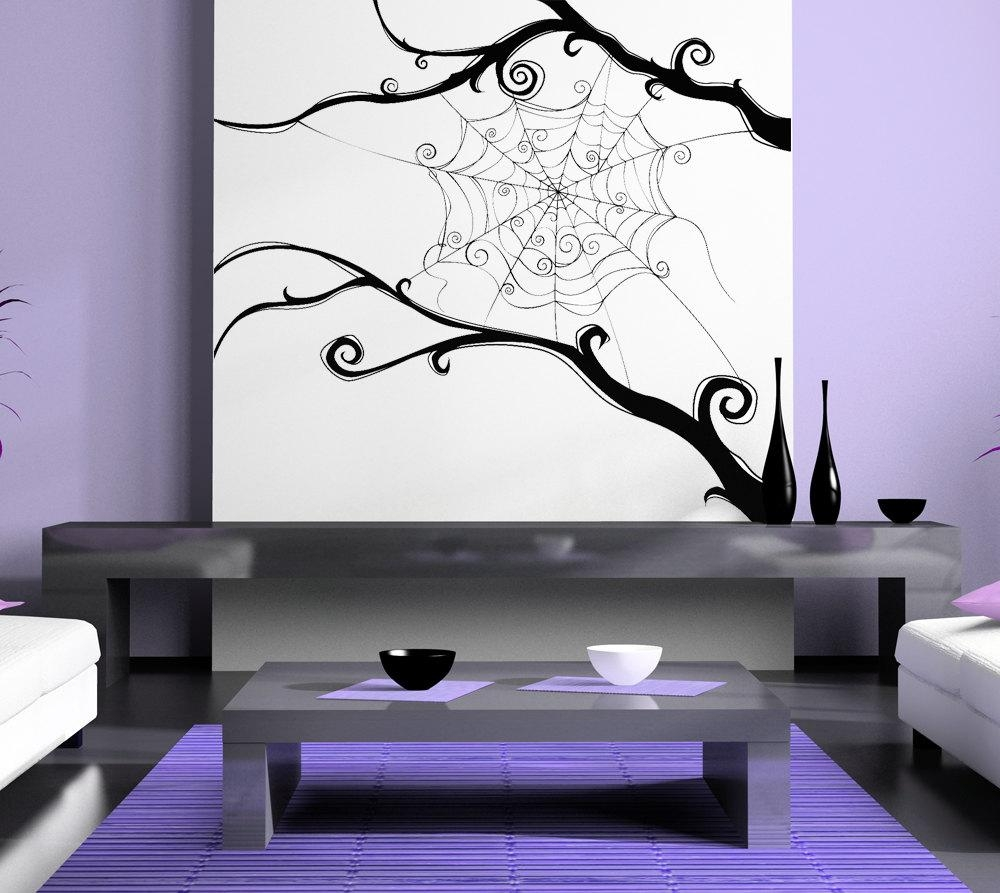 Spider Web Spiderweb Tim Burton Swirl Wall Artwork In Tim Burton Wall Decals (View 4 of 20)