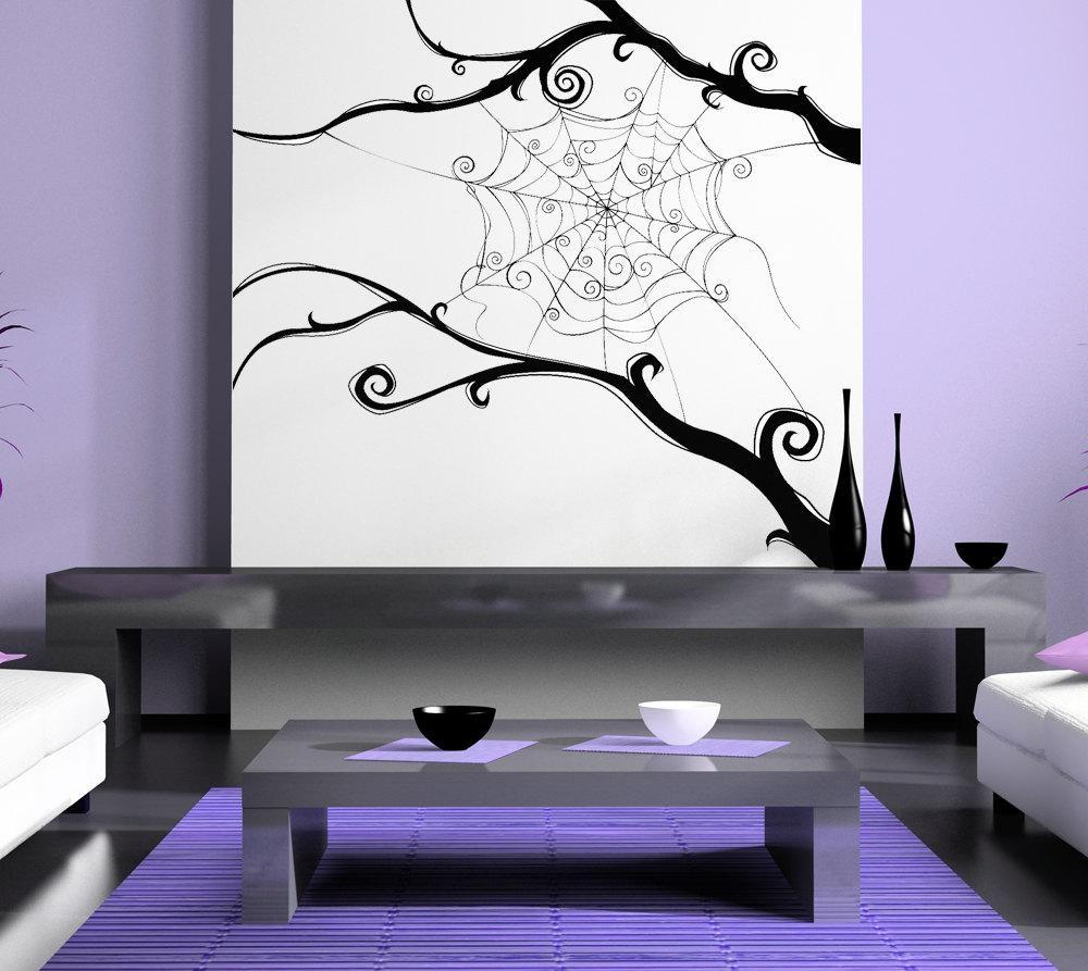 Spider Web Spiderweb Tim Burton Swirl Wall Artwork In Tim Burton Wall Decals (Image 16 of 20)