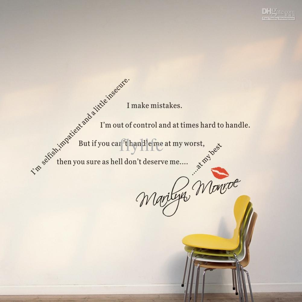 Spiritual Quotes Sayings For Loversmarilyn Monroe Diy Wall Pertaining To Marilyn Monroe Wall Art Quotes (View 9 of 20)