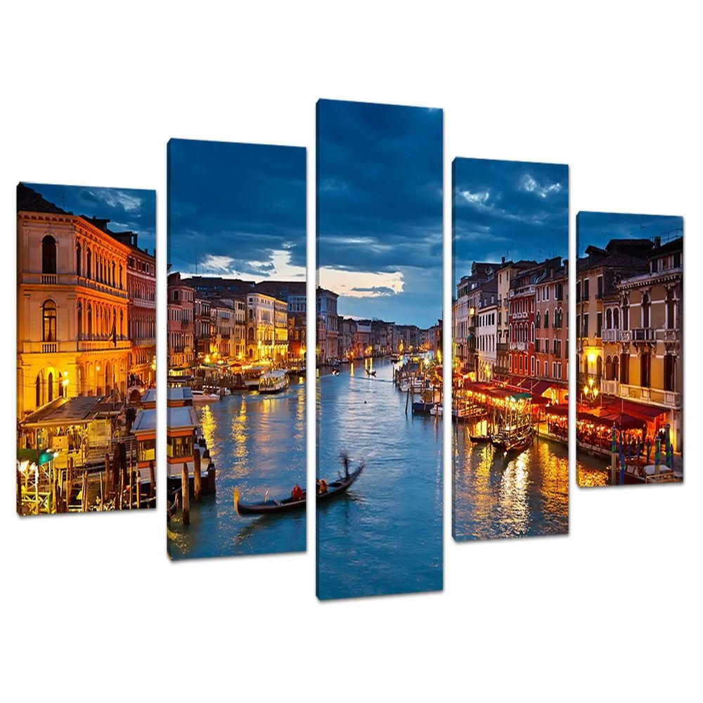 Split Canvas 5 Piece Blue Multi Panel Five Part Venice Italy 5068 Regarding Multiple Piece Wall Art (Image 9 of 20)