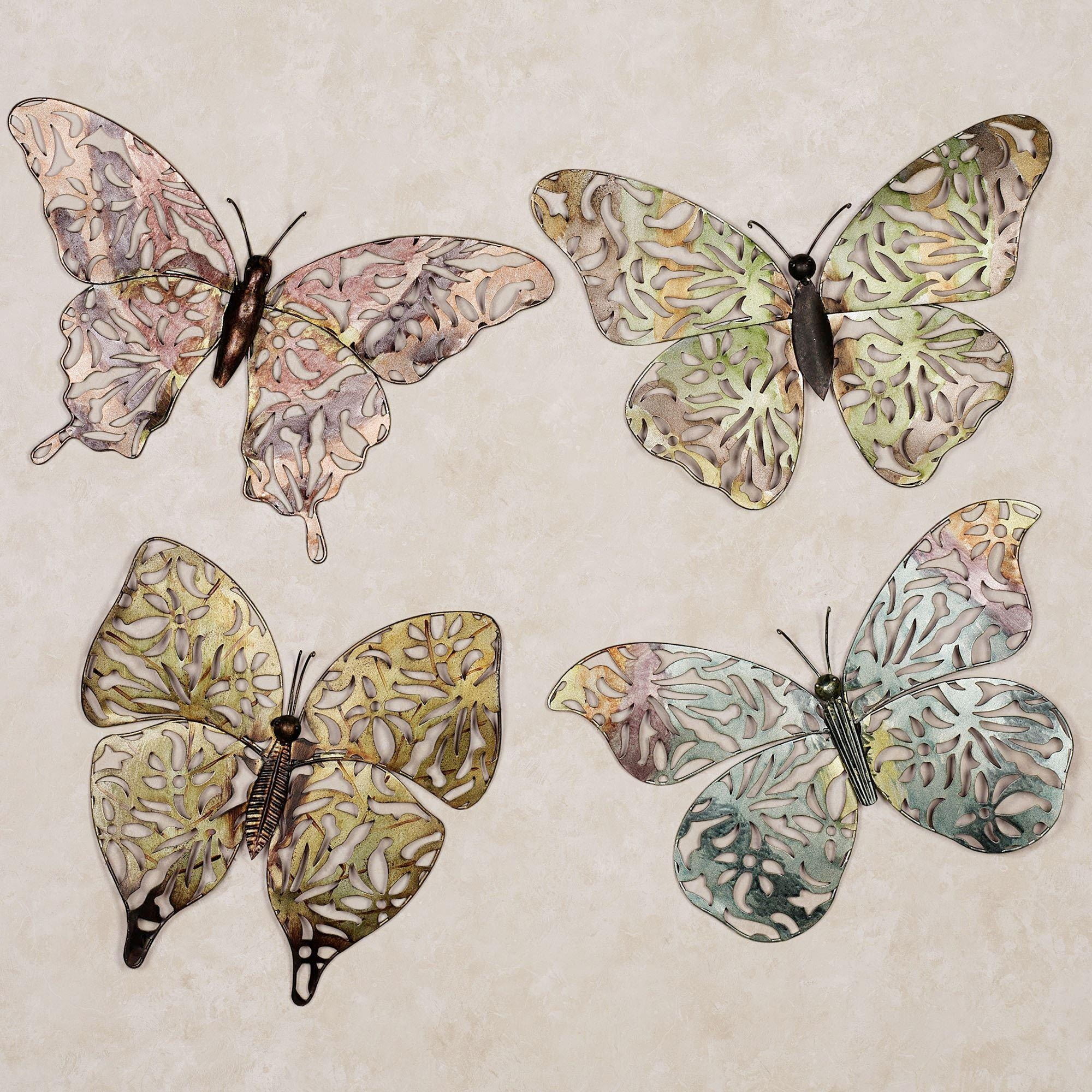 Spring Butterfly Metal Wall Art Set Throughout Large Metal Butterfly Wall Art (Image 17 of 20)