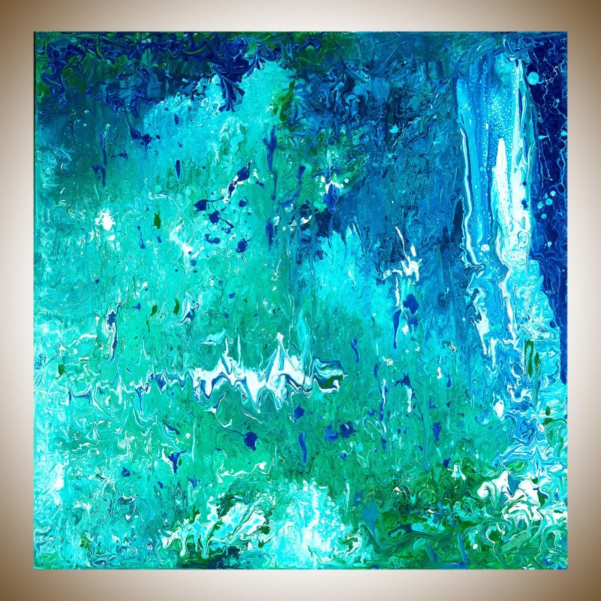 "Spring Ribbonqiqigallery 72"" X 24"" Extra Large Wall Art In Blue And Green Wall Art (Image 17 of 20)"