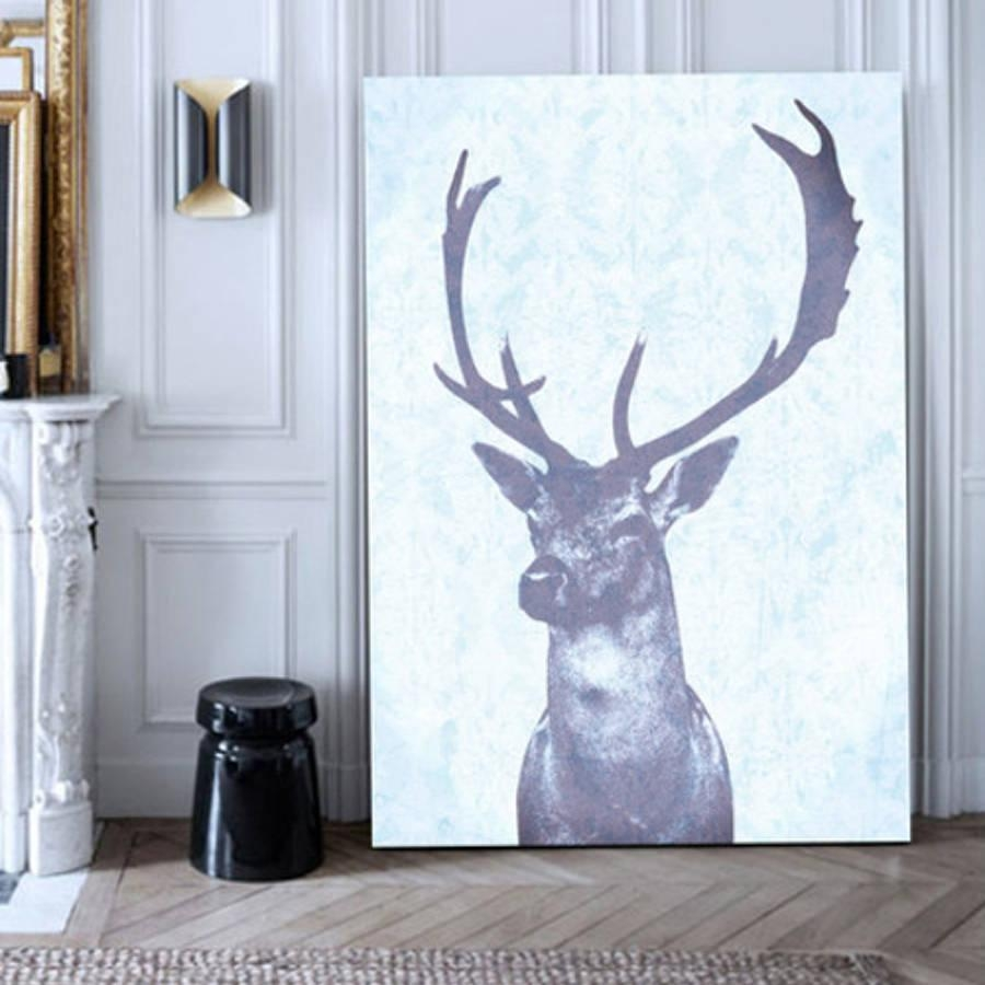 Stag Blue, Canvas Artpalm Valley | Notonthehighstreet Throughout Stag Wall Art (View 14 of 20)