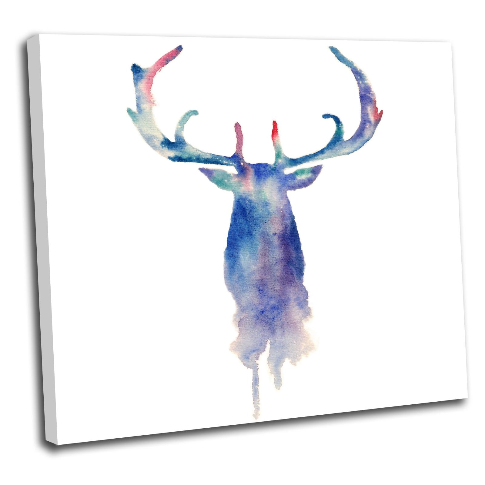 Stag Head Canvas Wall Art Print Framed Picture 14 Gallery Grade | Ebay Inside Stag Head Wall Art (Image 14 of 20)