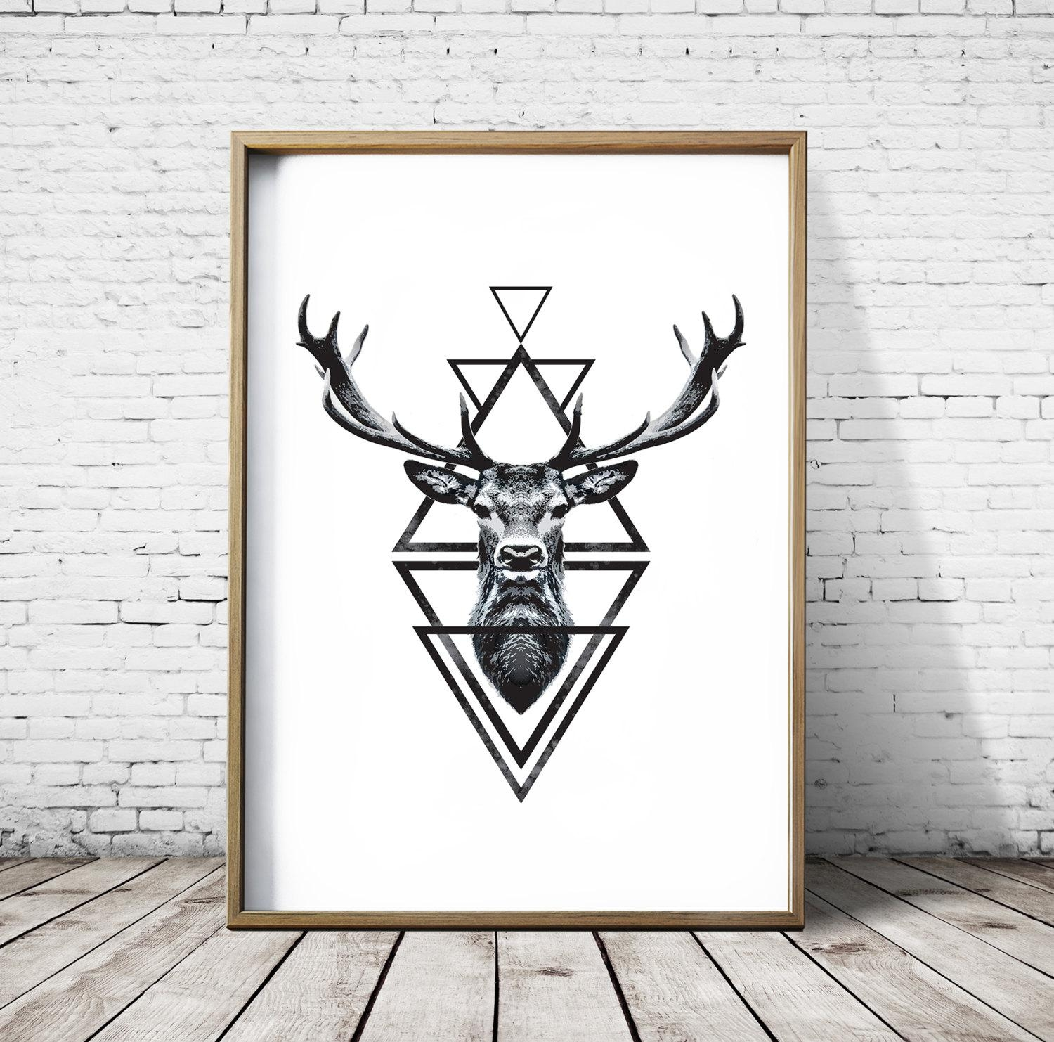 Stag Head Deer Head Wall Art Print Deer Print Deer Antlers In Stags Head Wall Art (View 18 of 20)