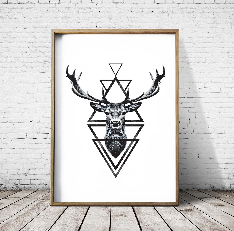 Stag Head Deer Head Wall Art Print Deer Print Deer Antlers Pertaining To Stag Head Wall Art (Image 15 of 20)