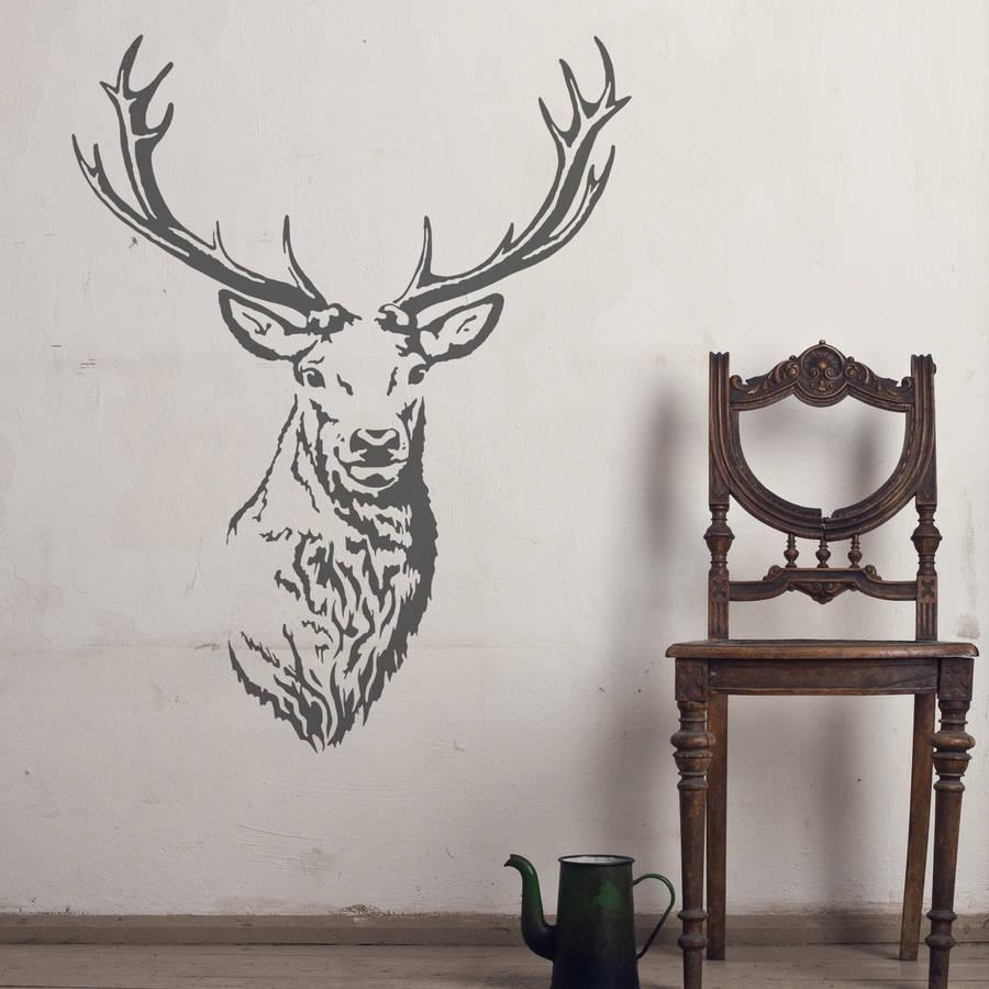 Stag Head Vinyl Wall Stickeroakdene Designs Throughout Stag Head Wall Art (Image 16 of 20)