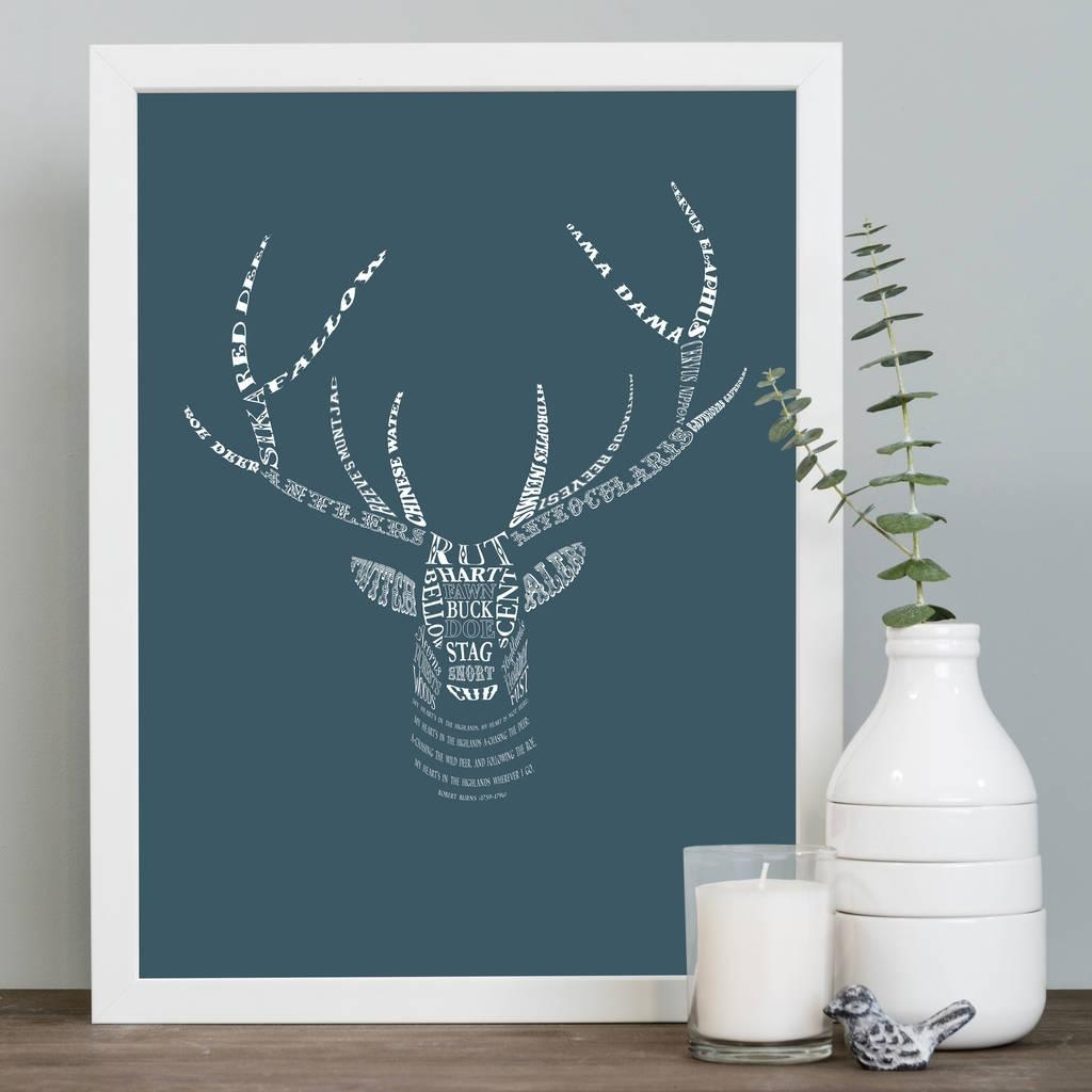 Stag's Head Art Printmimi & Mae | Notonthehighstreet Within Stags Head Wall Art (View 16 of 20)