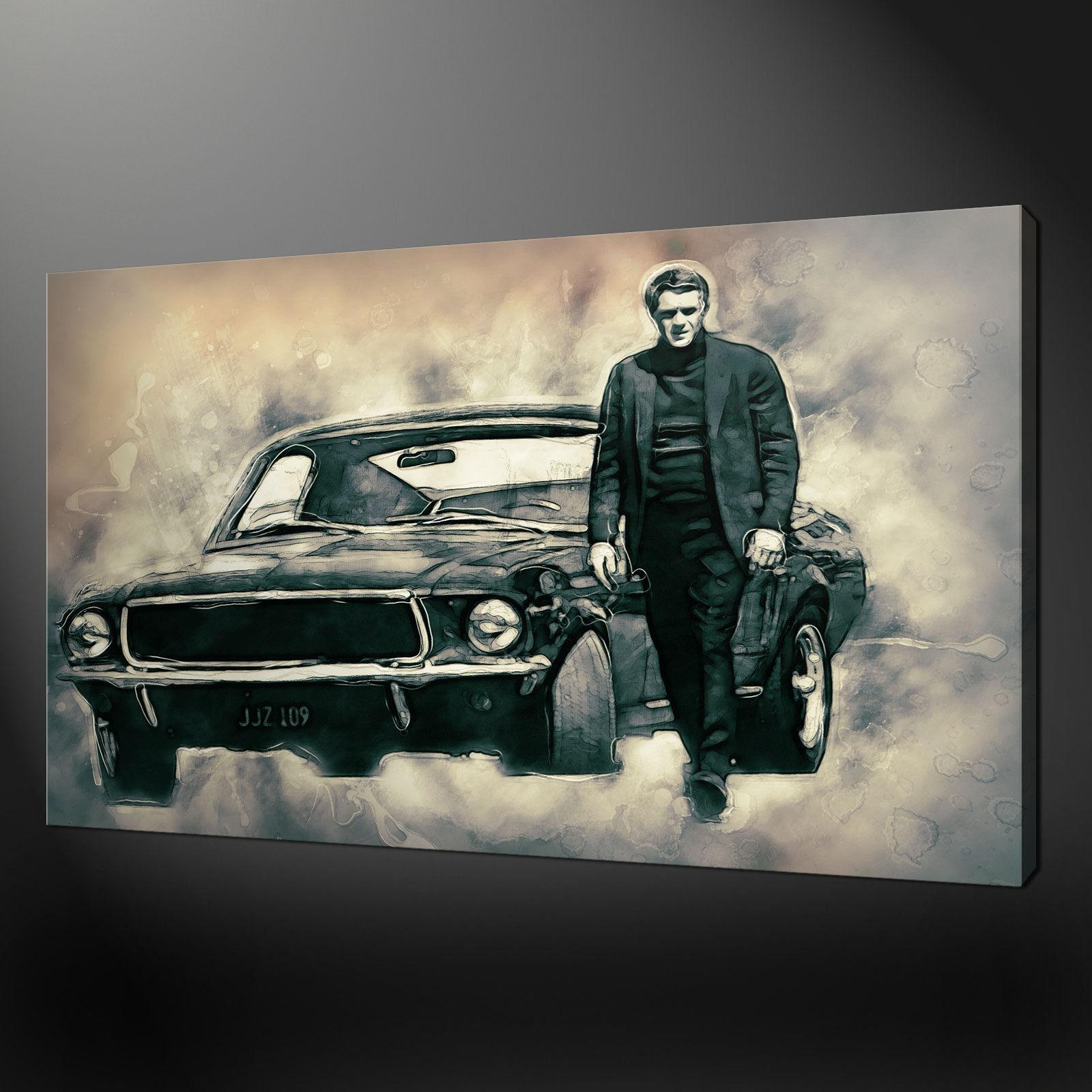 Steve Mcqueen Bullitt The Movie Canvas Print Picture Wall Art Pertaining To Steve Mcqueen Wall Art (Image 15 of 20)