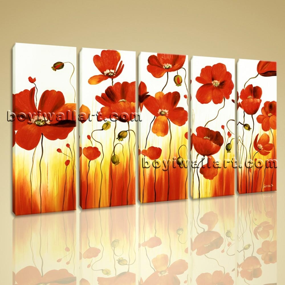 Stretched Canvas Wall Art Prints Abstract Painting Poppy Flowers Intended For Floral Wall Art Canvas (Image 17 of 20)