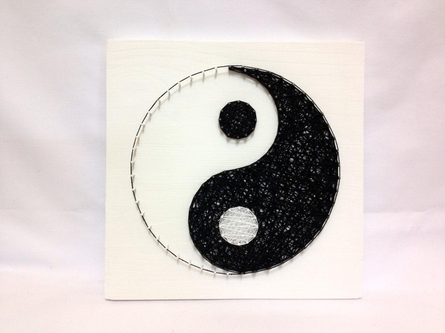 String Art Yin Yang Sign Wall Art Yin Yang Home Decor Black Intended For Yin Yang Wall Art (View 16 of 20)