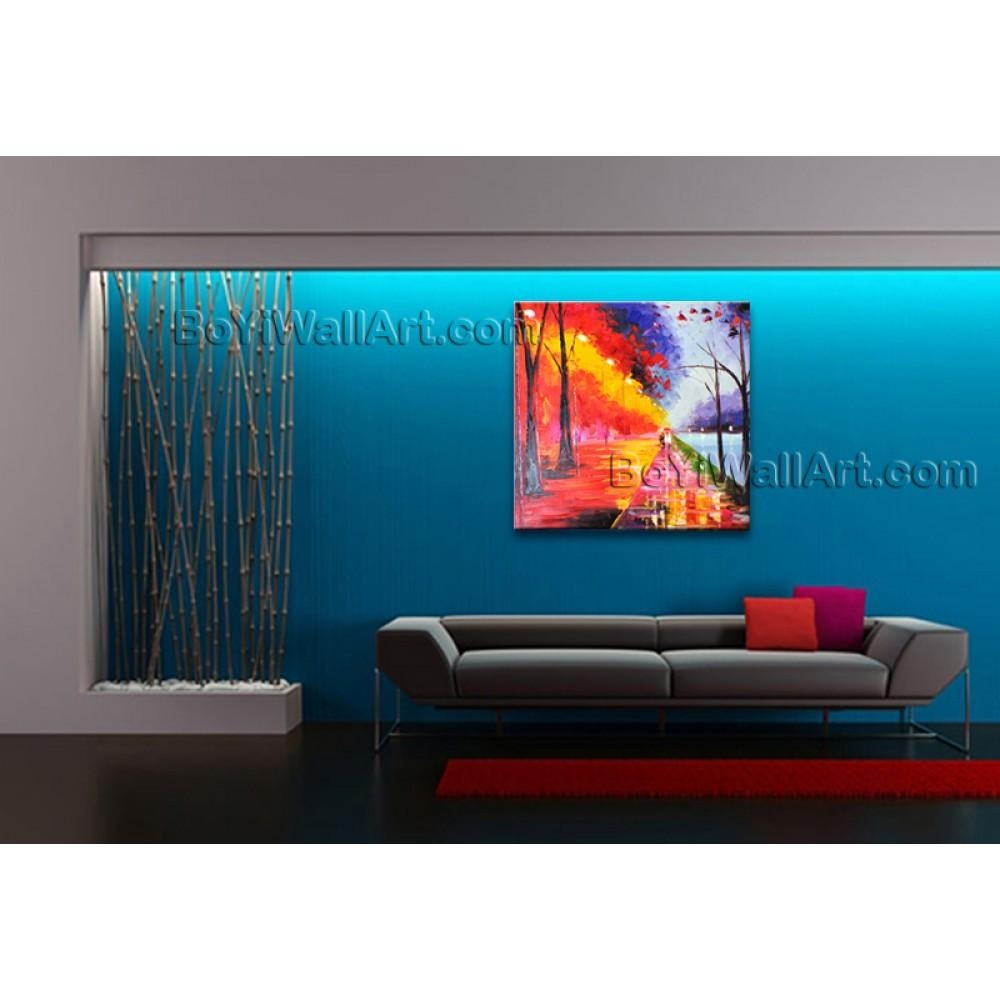 Stunning Contemporary Wall Art Landscape Painting Park Artist Artworks Pertaining To Electronic Wall Art (Image 15 of 20)
