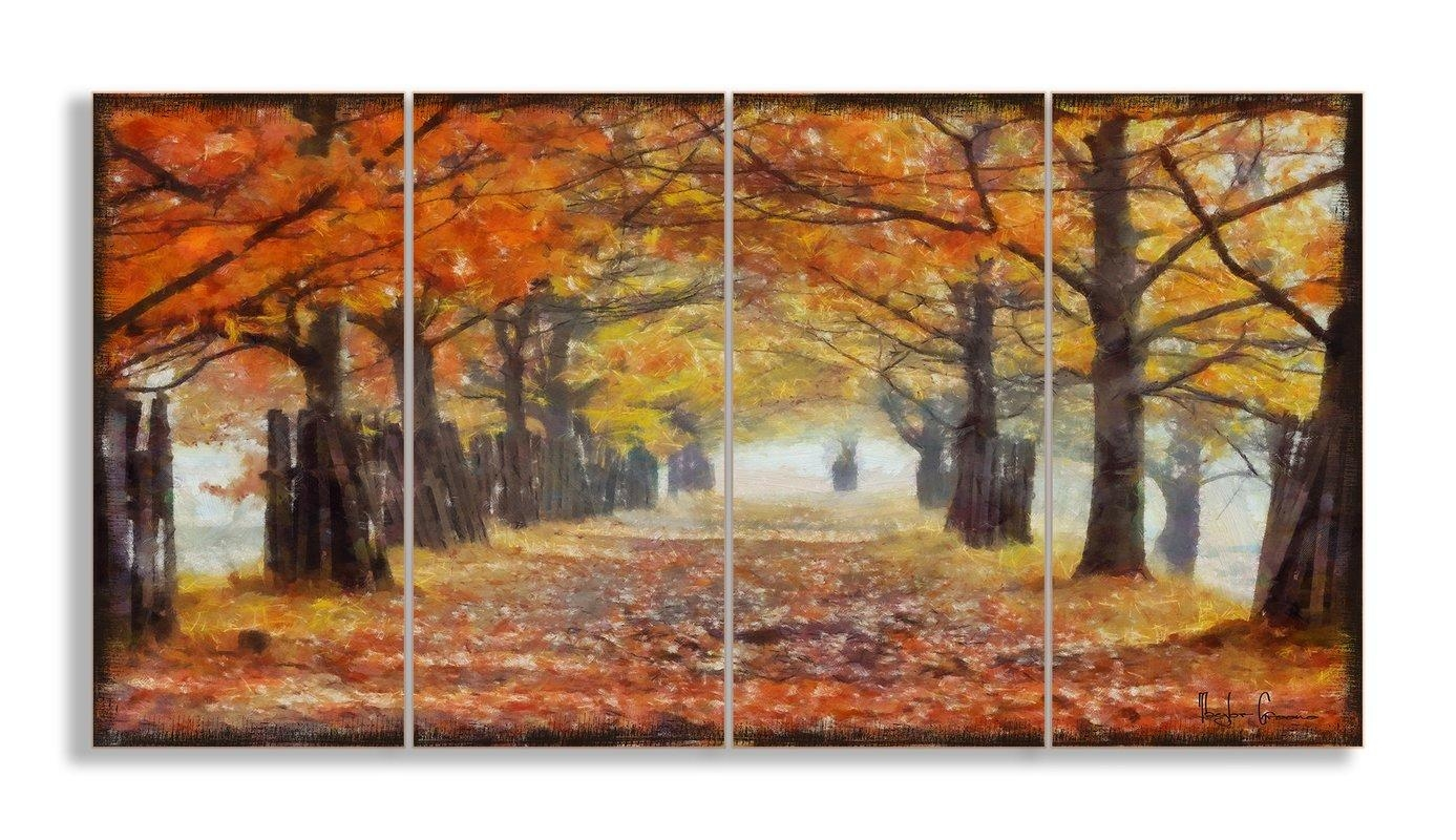 Stupell Industries A Walk Through The Autumn Trees 4 Piece Canvas Inside 4 Piece Wall Art (Image 16 of 19)