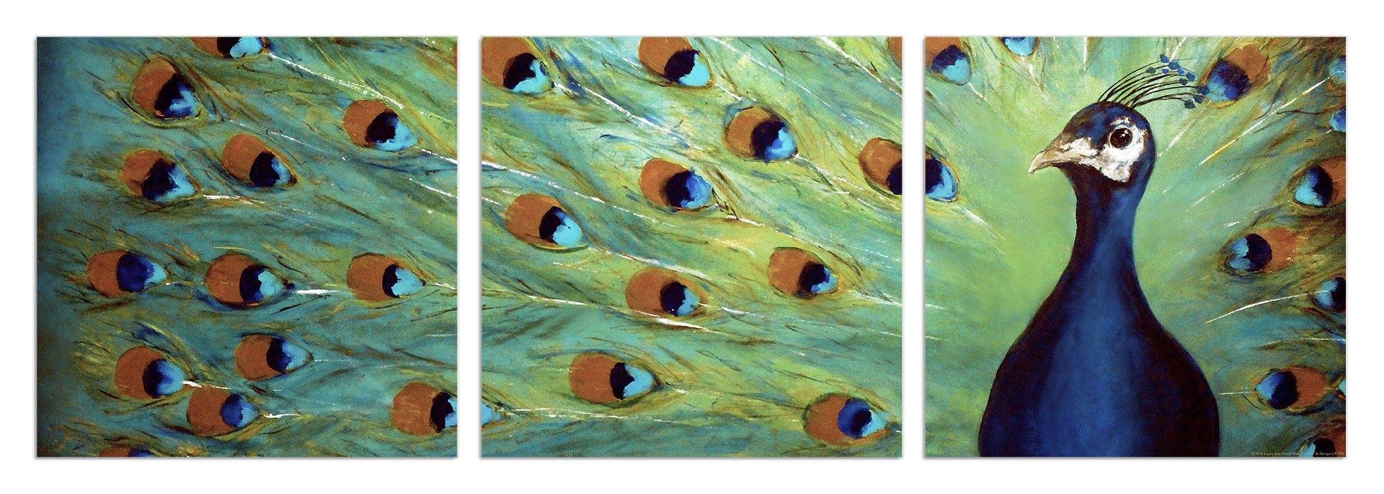 Stupell Industries Prized Peacock 3 Piece Triptych Canvas Wall Art Regarding 3 Piece Wall Art Sets (View 18 of 20)
