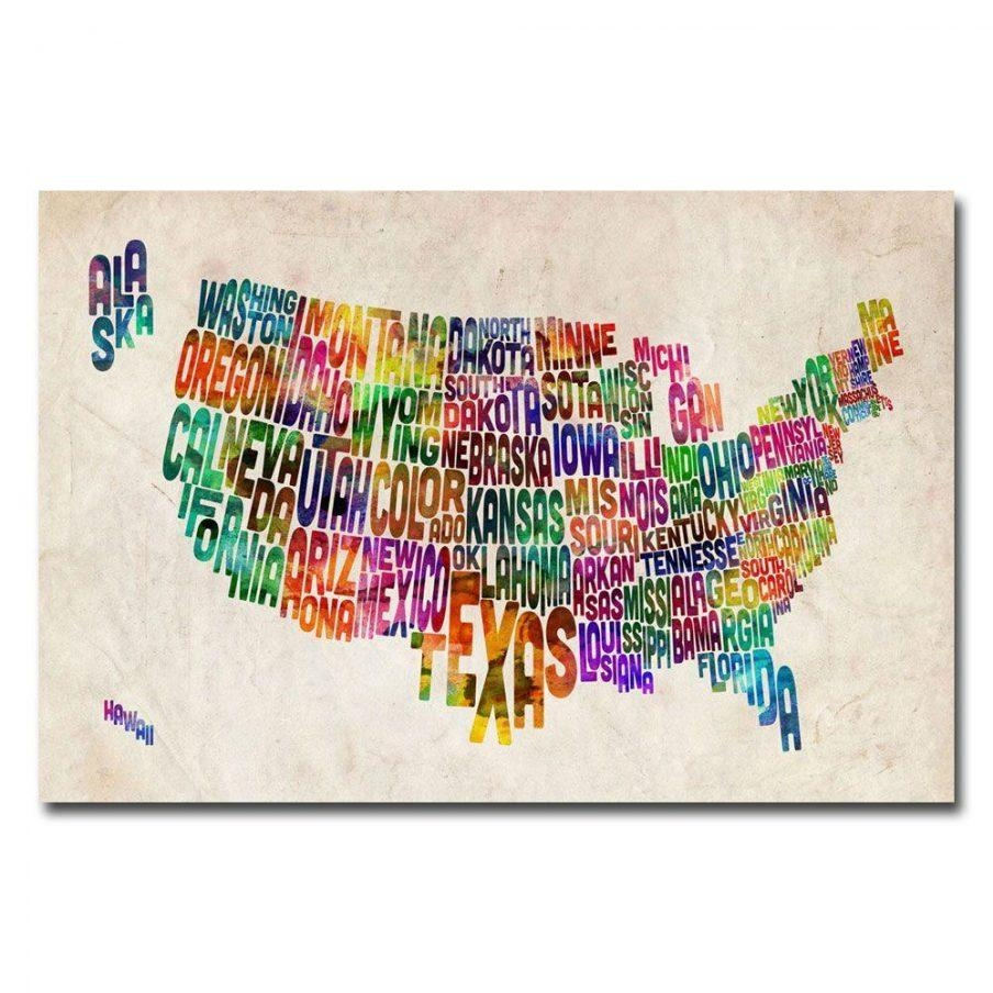 Stupendous United States Canvas Artwork Us States Text Map United With Regard To Us Map Wall Art (Image 12 of 20)