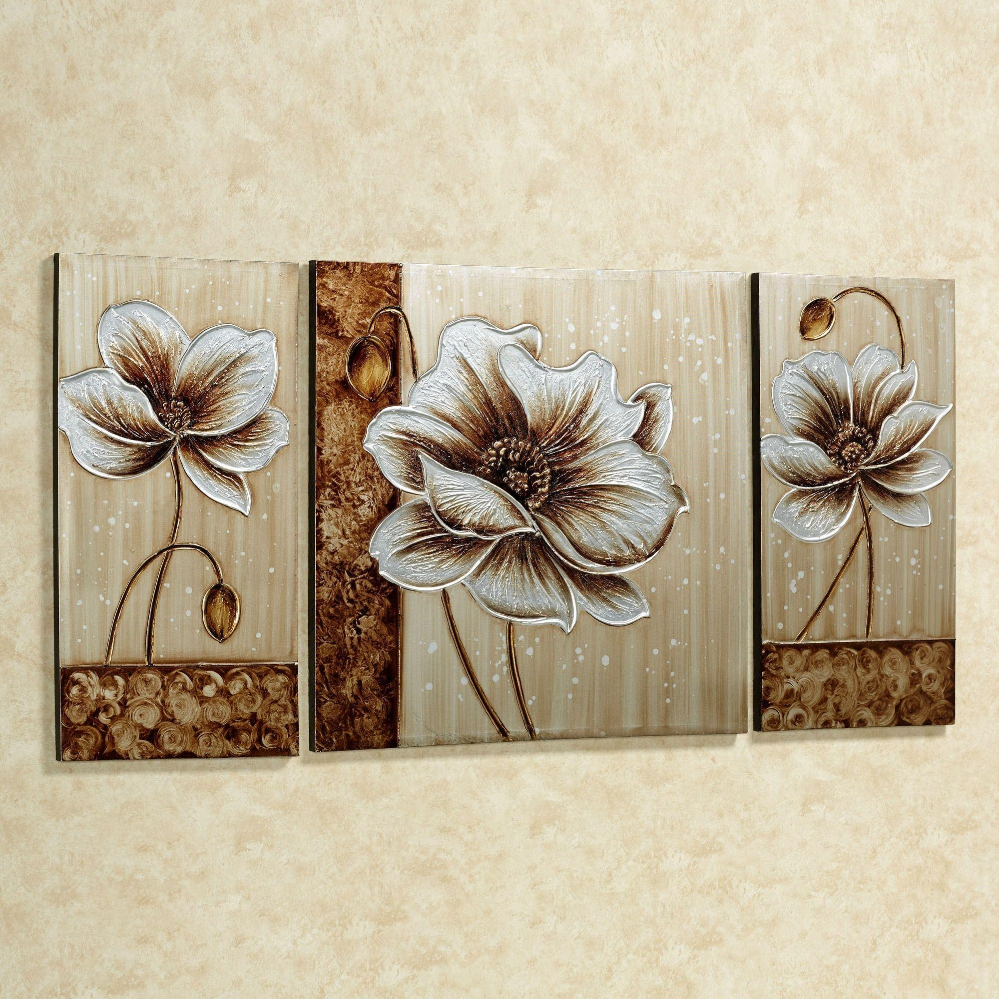Subtle Elegance Floral Canvas Wall Art Set In Three Panel Wall Art (Image 14 of 20)