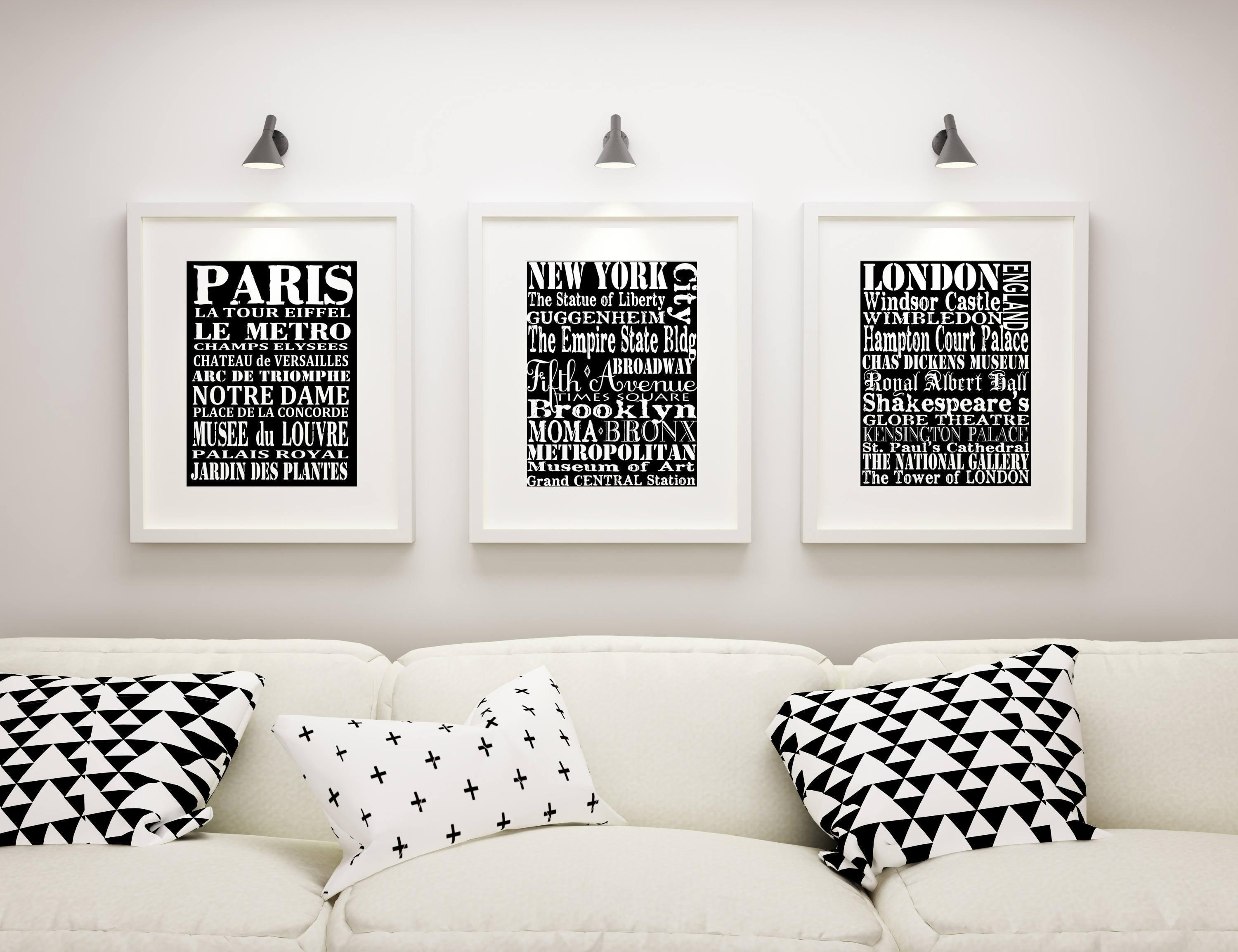 Subway Wall Art, 3 Matted And Framed Subway Art Prints, Paris, New In Shakespeare Wall Art (Image 16 of 20)