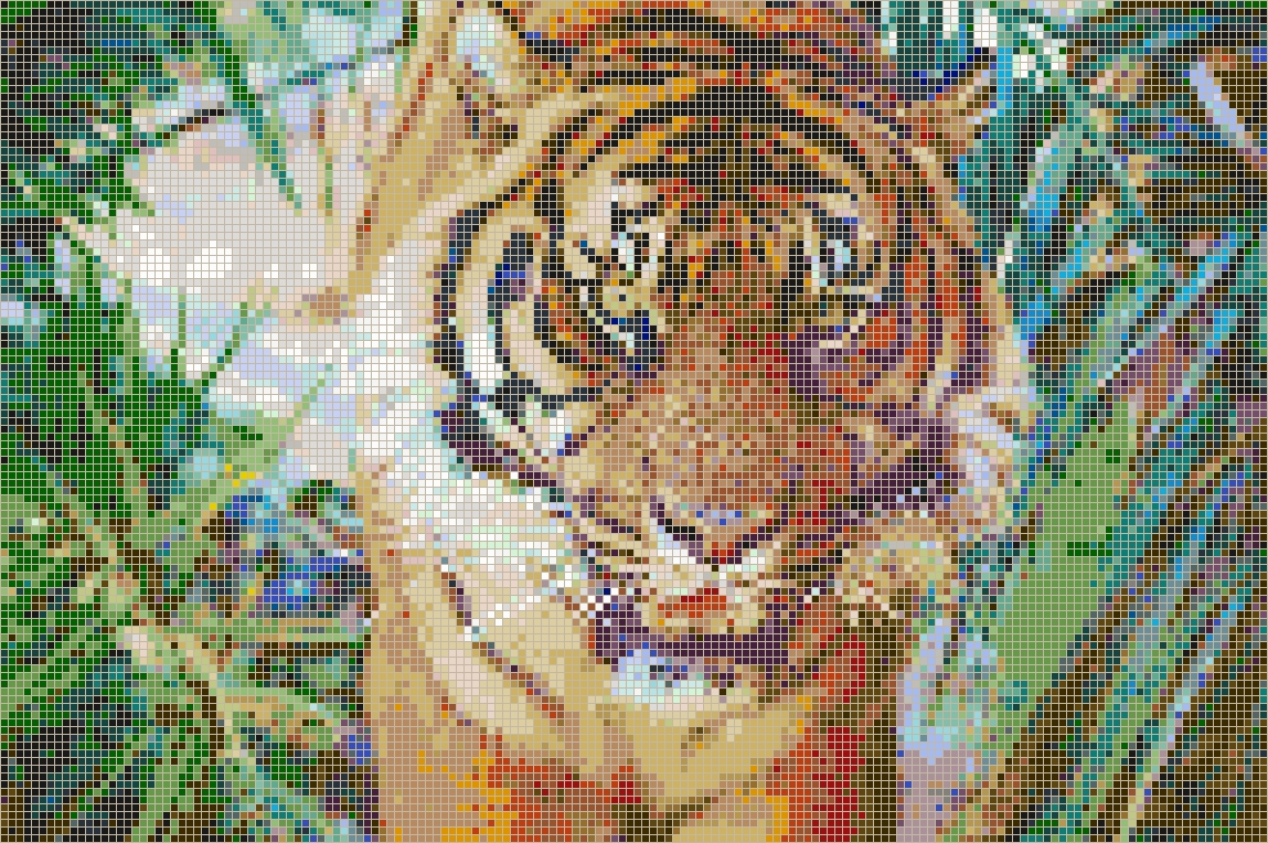 Sumatran Tiger – Framed Mosaic Wall Art With Pixel Mosaic Wall Art (Image 12 of 20)