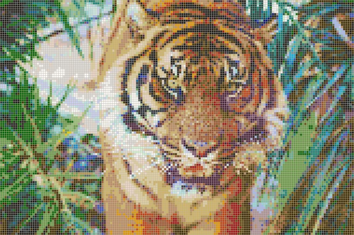 Sumatran Tiger – Framed Mosaic Wall Art With Pixel Mosaic Wall Art (View 10 of 20)