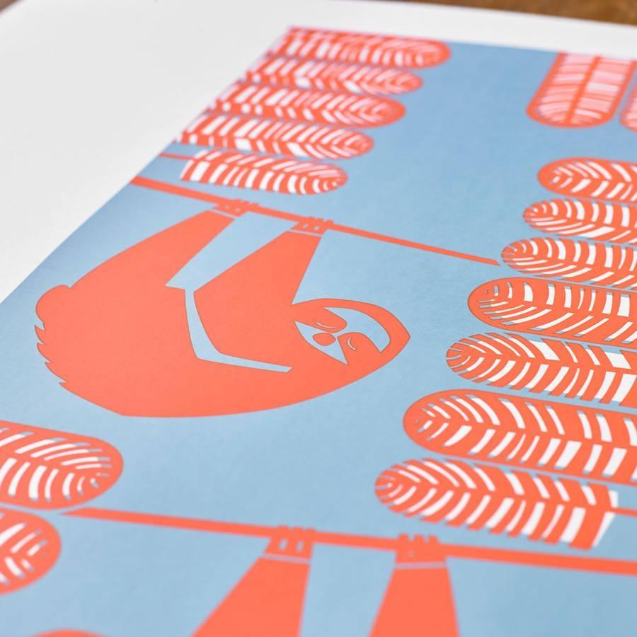 Summer Sloths Seasonal Screen Printed Wall Artbobbie Print In Seasonal Wall Art (View 12 of 20)