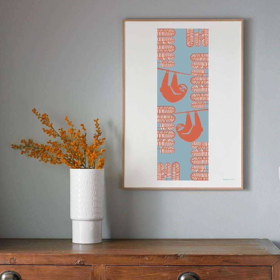 Summer Sloths Seasonal Screen Printed Wall Artbobbie Print With Regard To Seasonal Wall Art (Image 16 of 20)