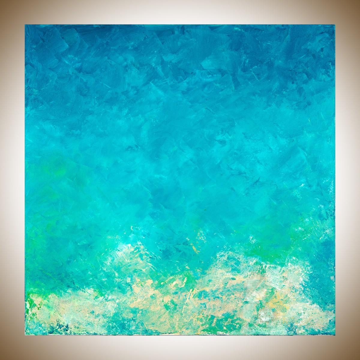 """Summer Vacationqiqigallery 30"""" X 30"""" Abstract Painting With Regard To Blue And Green Wall Art (View 10 of 20)"""