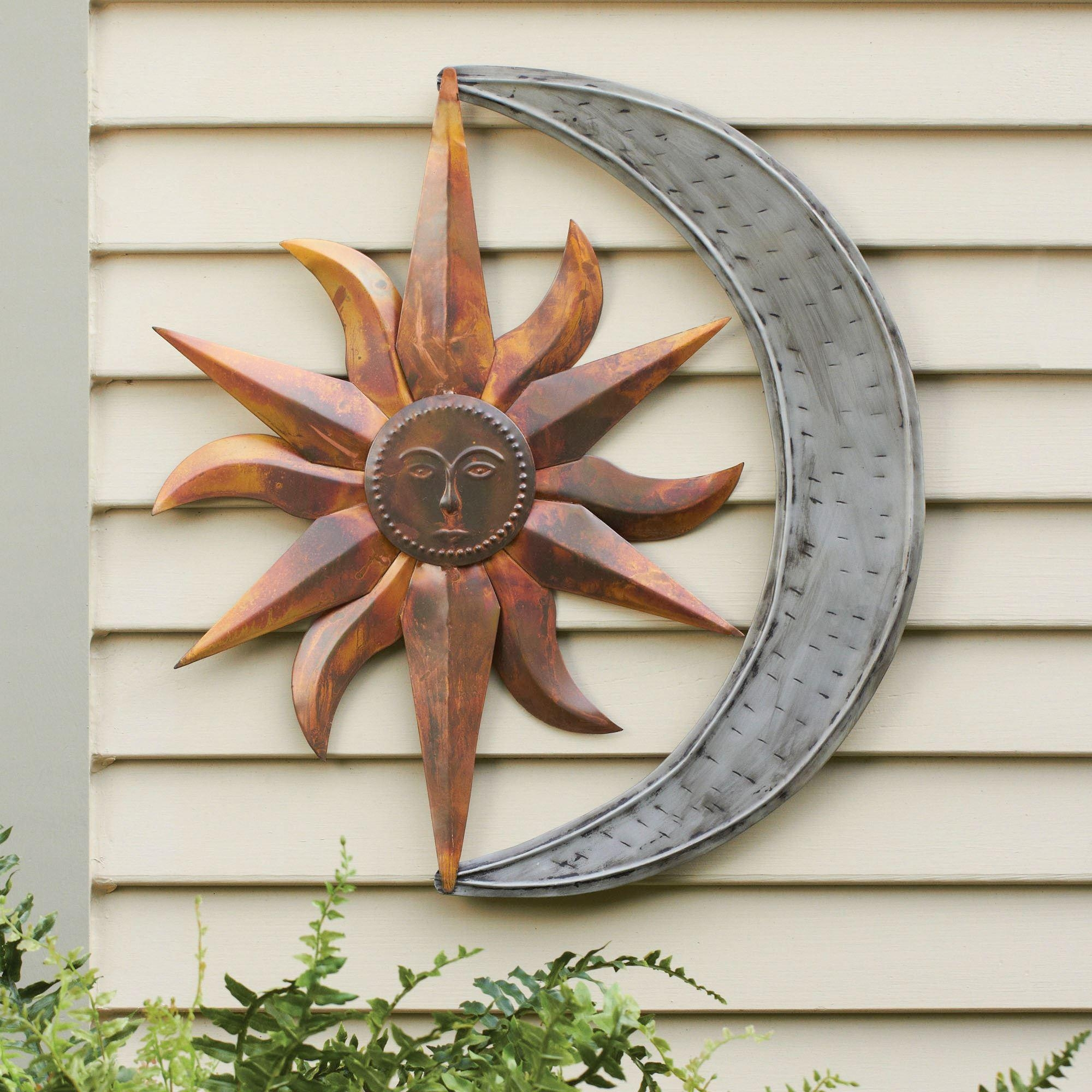 Sun And Moon Indoor Outdoor Metal Wall Art Intended For Metal Large Outdoor Wall Art (View 1 of 20)