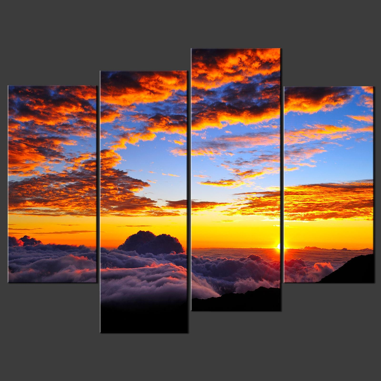 Sunset Above Clouds Split Canvas Wall Art Pictures Prints Larger Within Split Wall Art (Image 15 of 20)